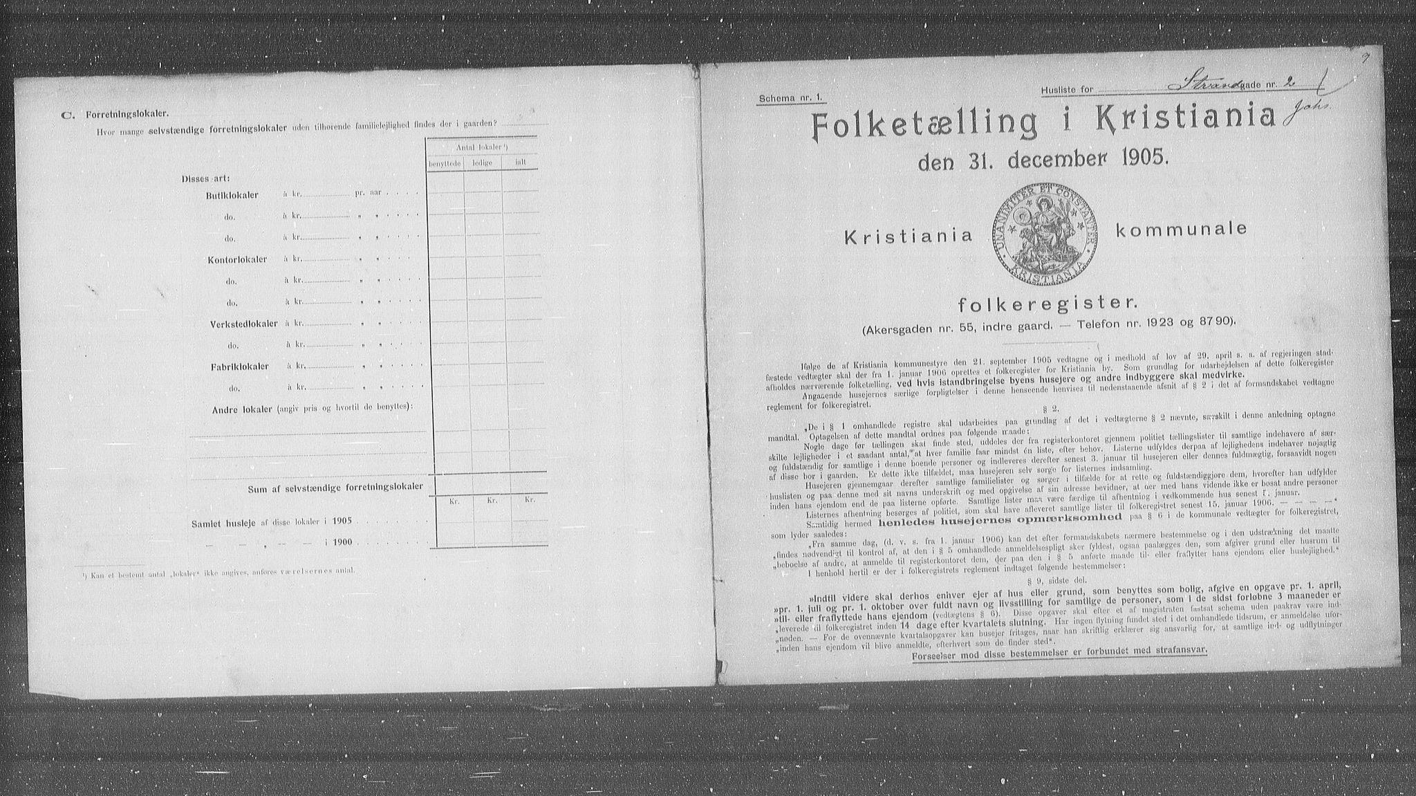 OBA, Municipal Census 1905 for Kristiania, 1905, p. 54245