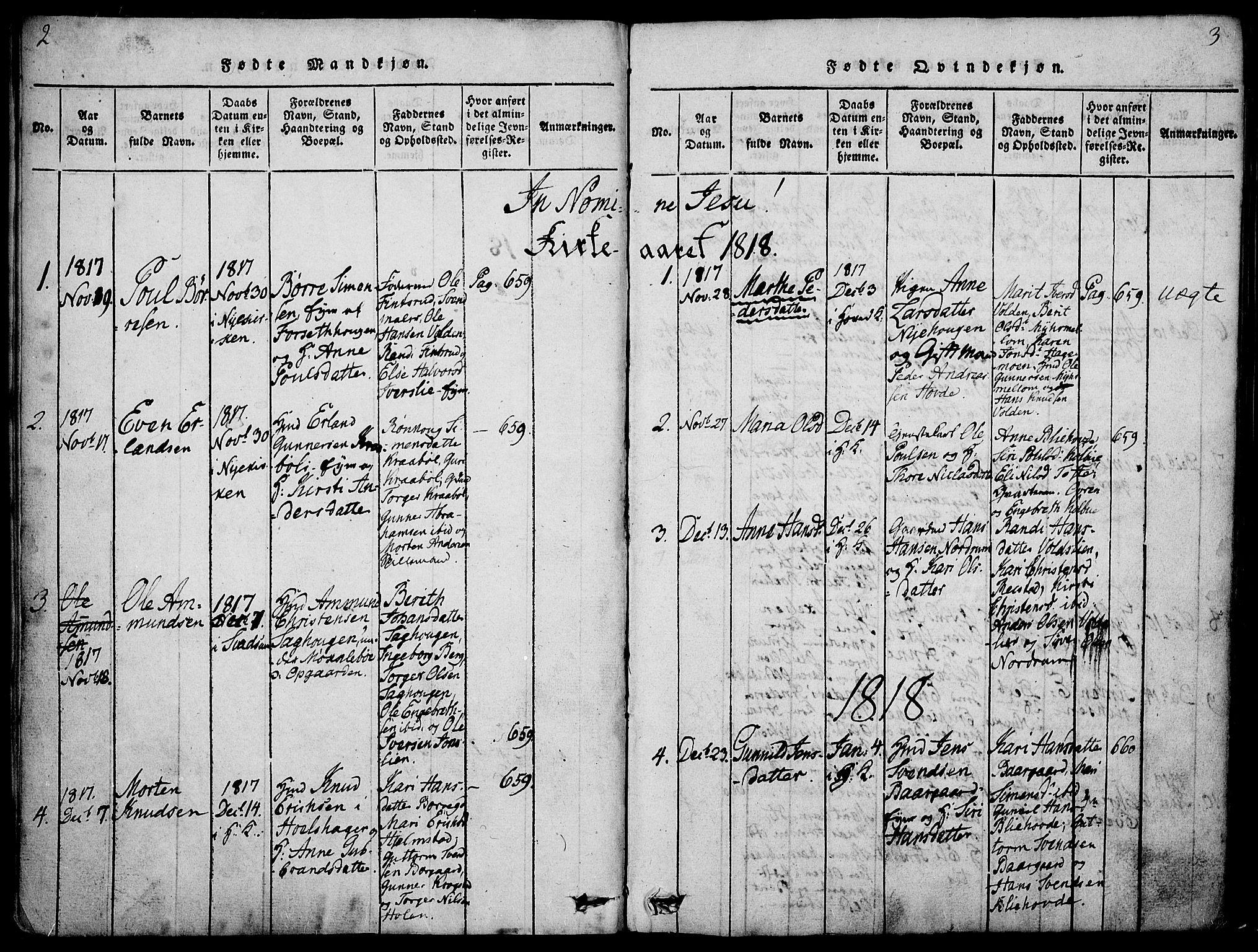 SAH, Gausdal prestekontor, Parish register (official) no. 5, 1817-1829, p. 2-3