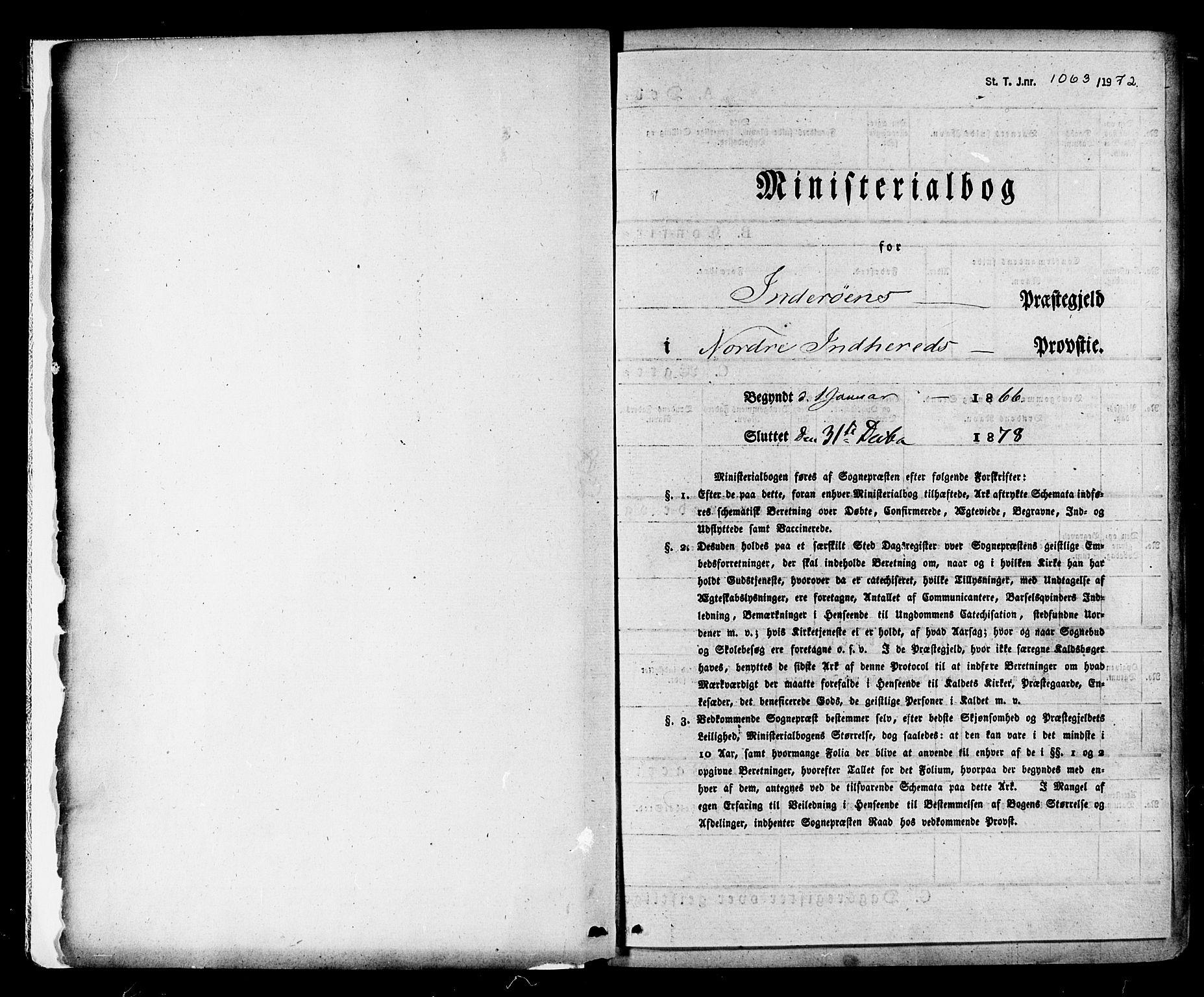 SAT, Ministerialprotokoller, klokkerbøker og fødselsregistre - Nord-Trøndelag, 730/L0284: Parish register (official) no. 730A09, 1866-1878
