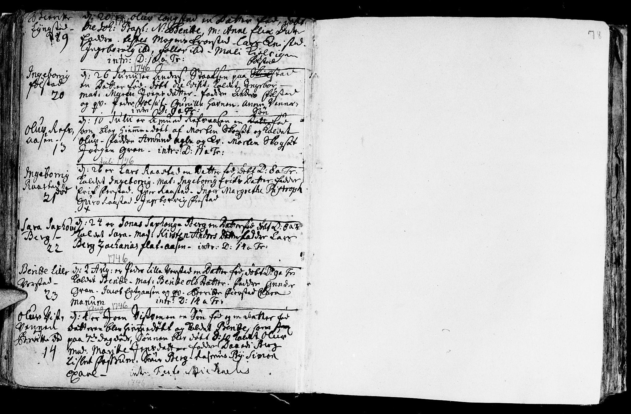 SAT, Ministerialprotokoller, klokkerbøker og fødselsregistre - Nord-Trøndelag, 730/L0272: Parish register (official) no. 730A01, 1733-1764, p. 78