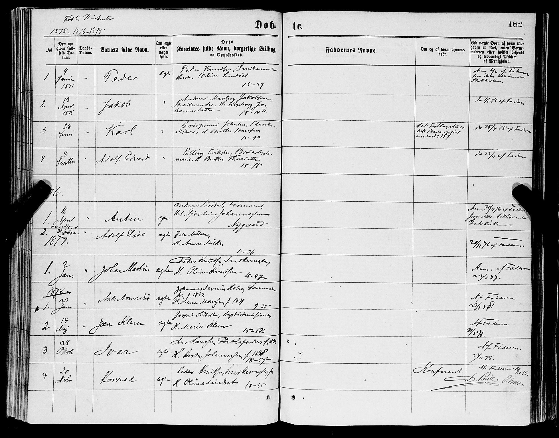 SAB, Domkirken sokneprestembete, H/Haa/L0022: Parish register (official) no. B 5, 1872-1878, p. 162
