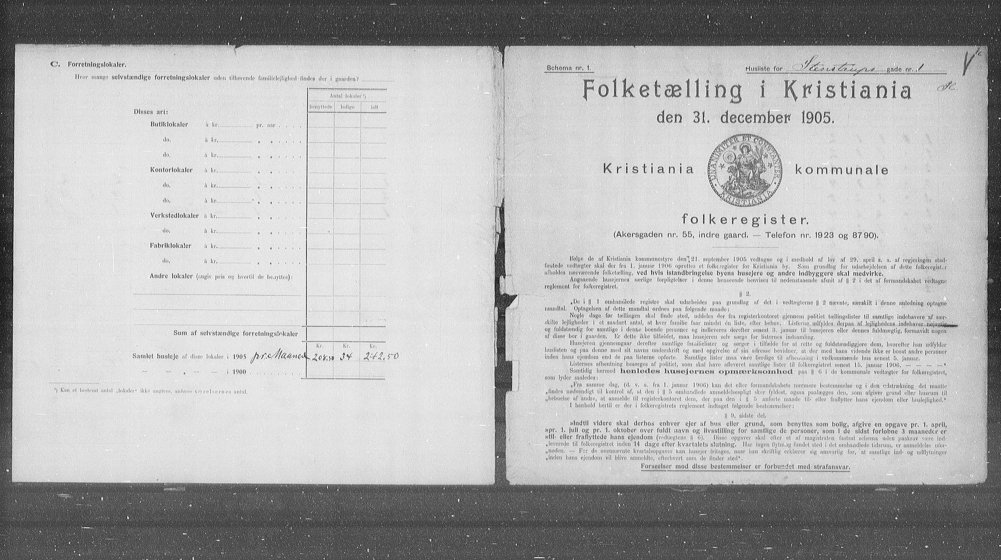 OBA, Municipal Census 1905 for Kristiania, 1905, p. 52589