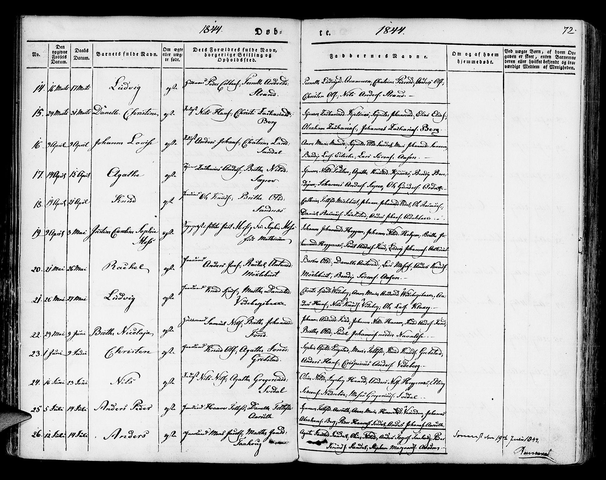 SAB, Jølster sokneprestembete, H/Haa/Haaa/L0009: Parish register (official) no. A 9, 1833-1848, p. 72