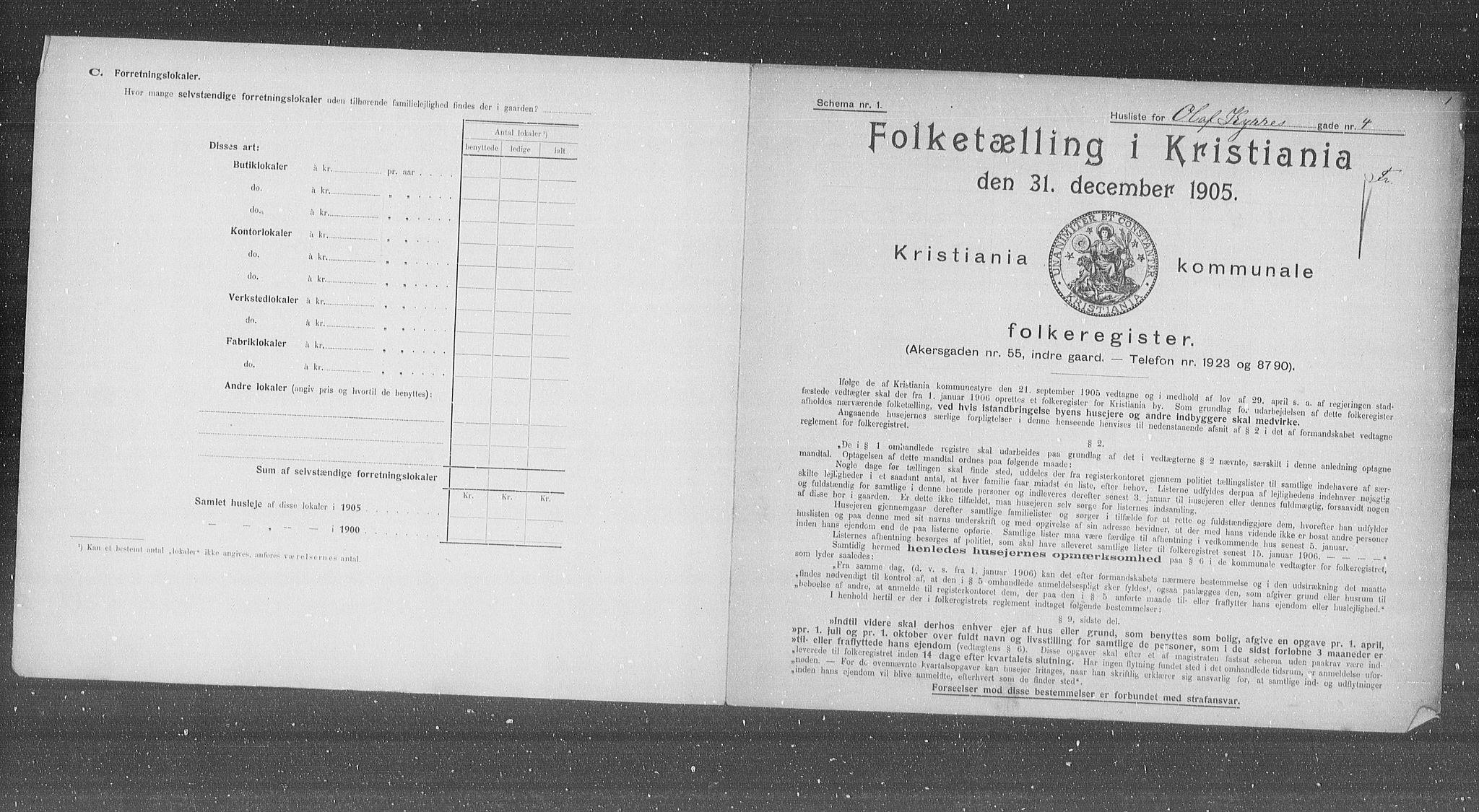 OBA, Municipal Census 1905 for Kristiania, 1905, p. 39478