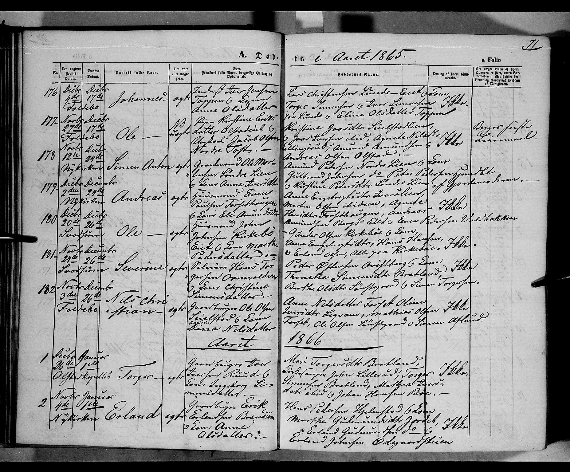 SAH, Gausdal prestekontor, Parish register (official) no. 9, 1862-1873, p. 71