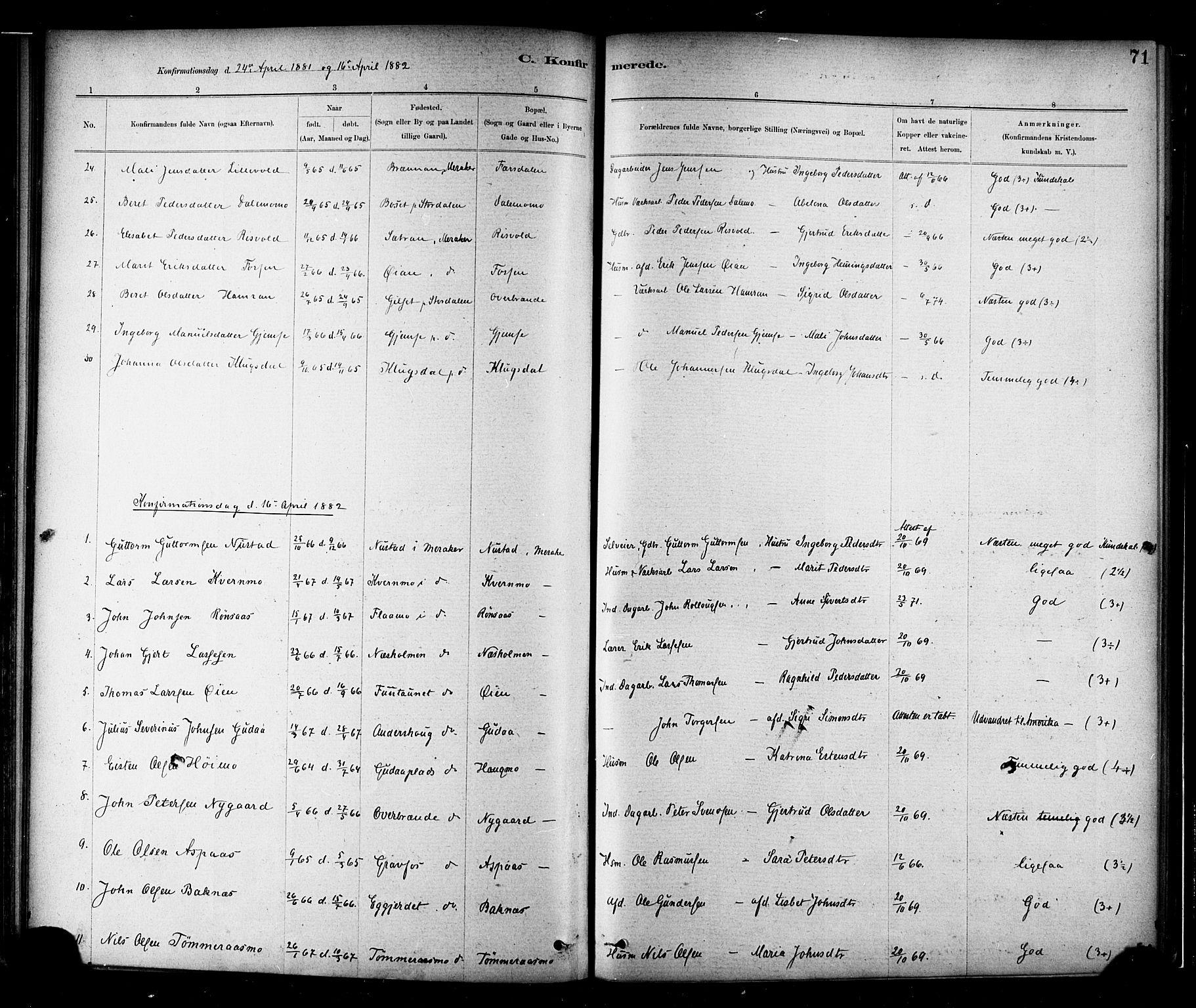 SAT, Ministerialprotokoller, klokkerbøker og fødselsregistre - Nord-Trøndelag, 706/L0047: Parish register (official) no. 706A03, 1878-1892, p. 71