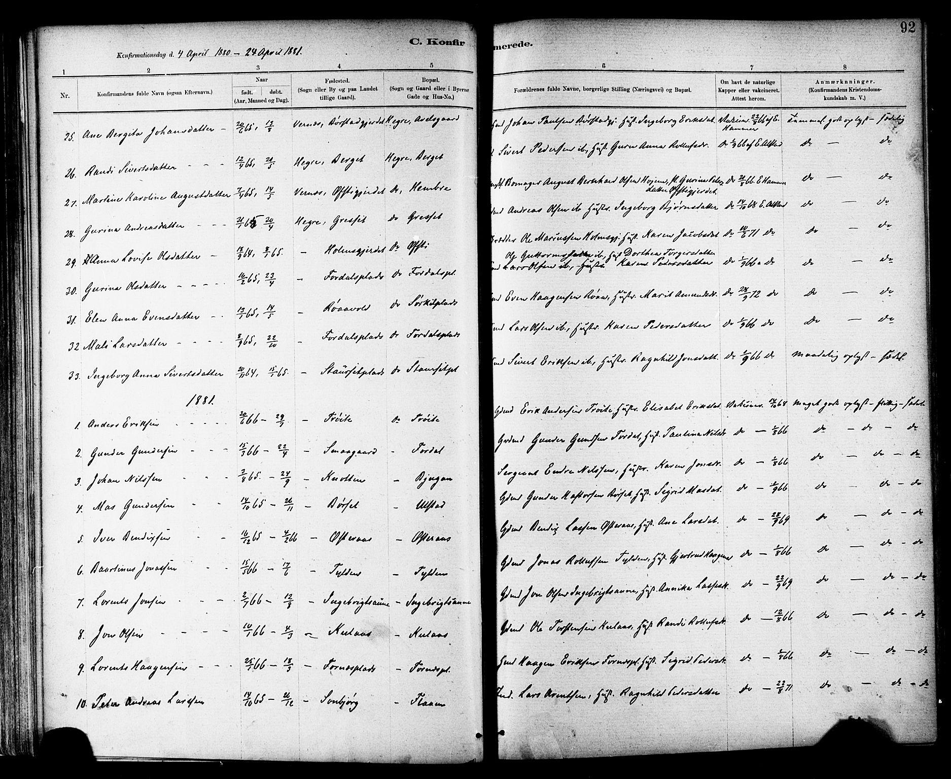 SAT, Ministerialprotokoller, klokkerbøker og fødselsregistre - Nord-Trøndelag, 703/L0030: Parish register (official) no. 703A03, 1880-1892, p. 92