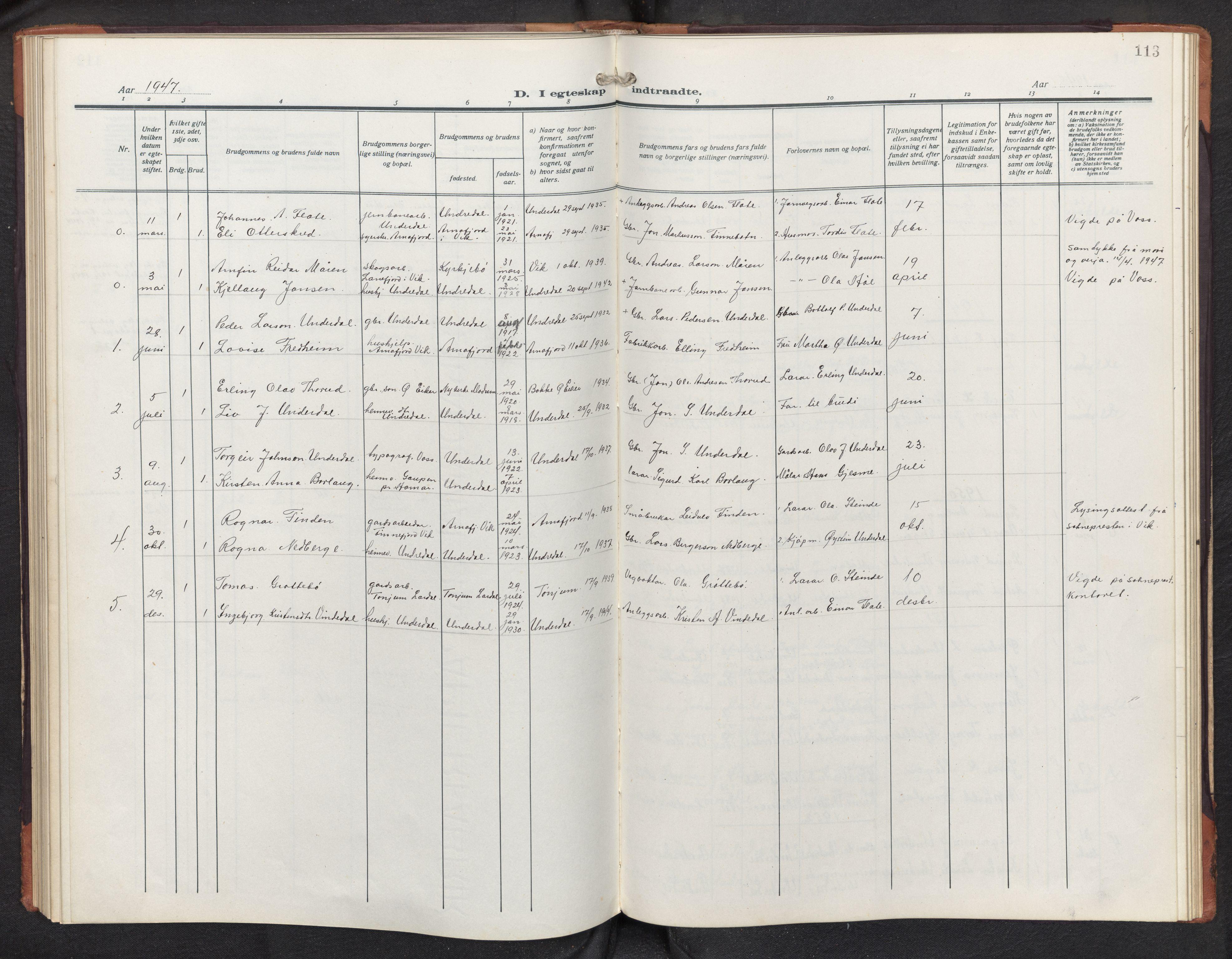 SAB, Aurland sokneprestembete, H/Hb/Hbd/L0003: Parish register (copy) no. D 3, 1920-1968, p. 112b-113a