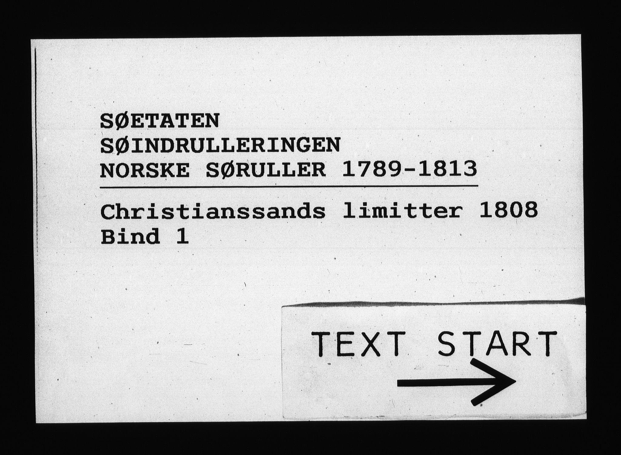 RA, Sjøetaten, F/L0101: Kristiansand limitter, bind 1, 1808