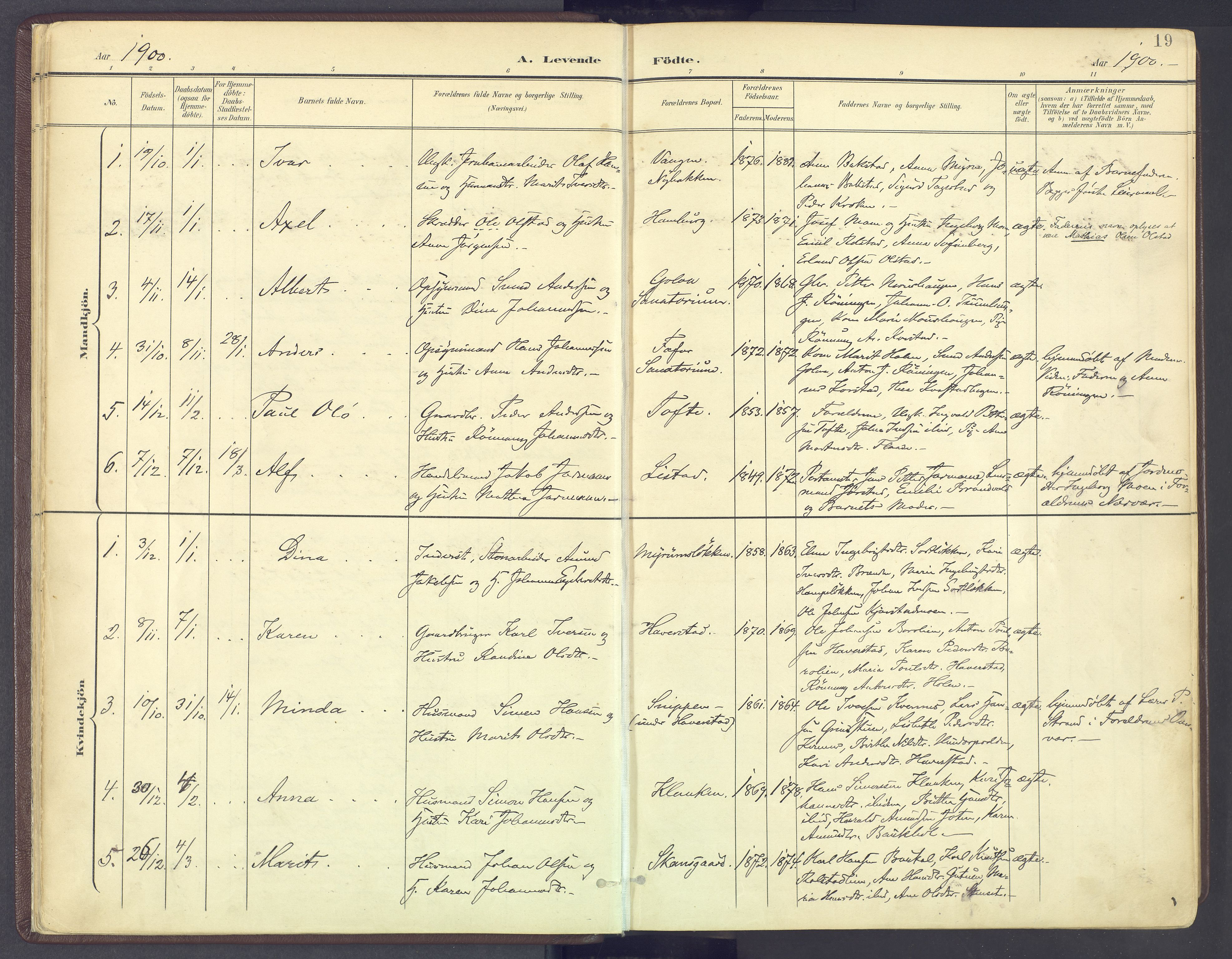 SAH, Sør-Fron prestekontor, H/Ha/Haa/L0004: Parish register (official) no. 4, 1898-1919, p. 19