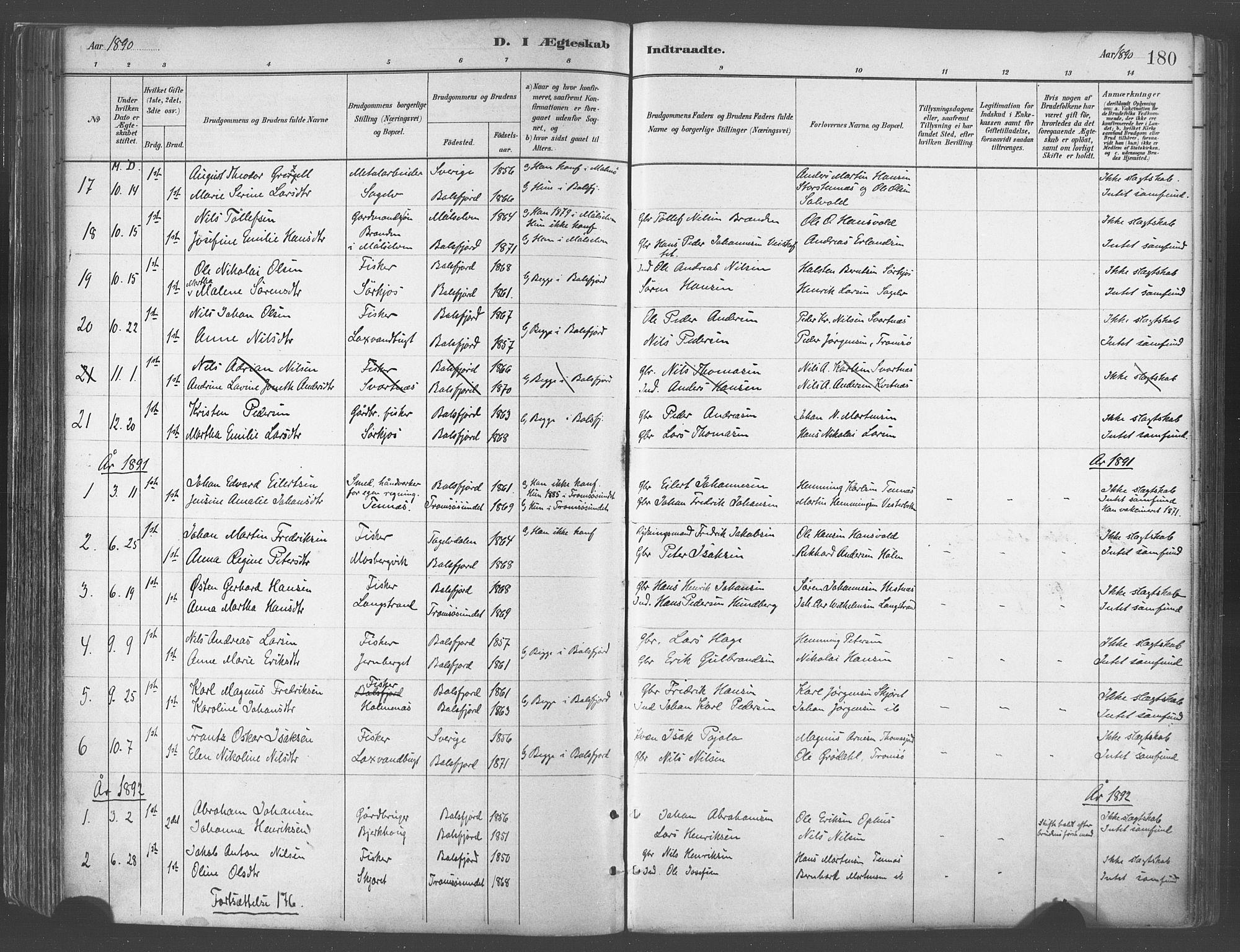 SATØ, Balsfjord sokneprestembete, Parish register (official) no. 5, 1884-1897, p. 180