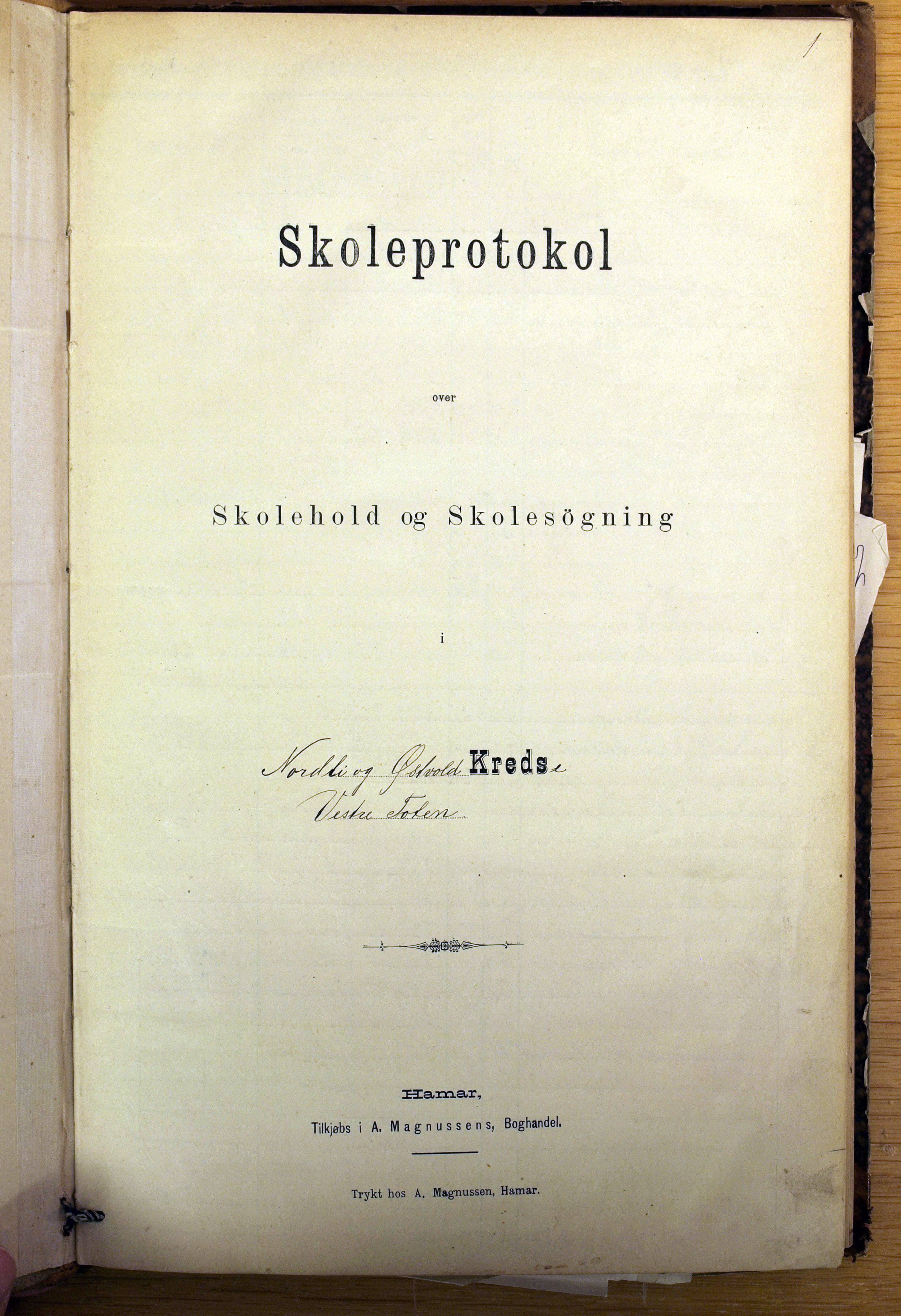 KVT, Vestre Toten kommunearkiv*, -: Skolehold- og skolesøkningsprotokoll, Nordli, Elton og Østvold krets i Vestre Toten skolekommune, 1886-1904, p. 1