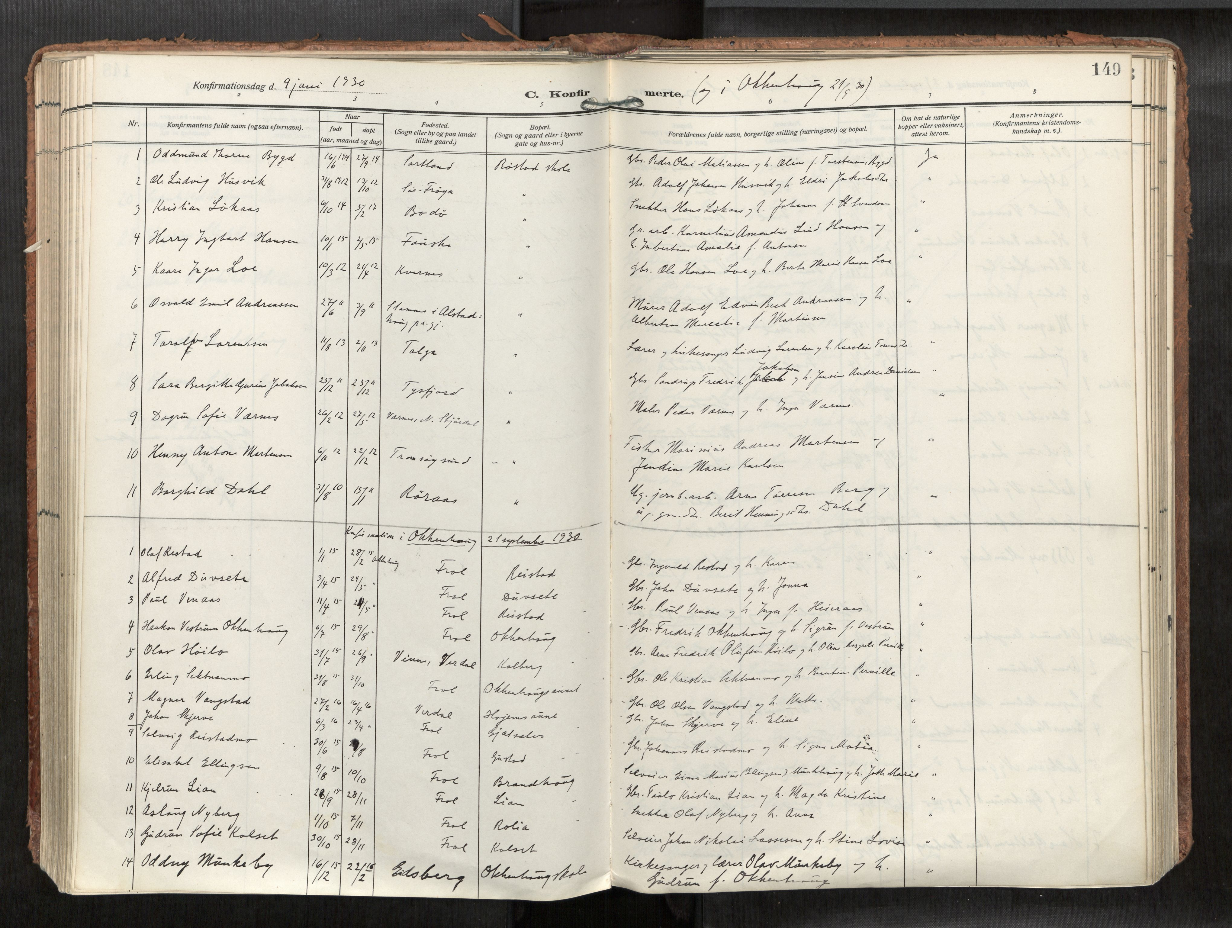SAT, Levanger sokneprestkontor*, Parish register (official) no. 1, 1912-1935, p. 149