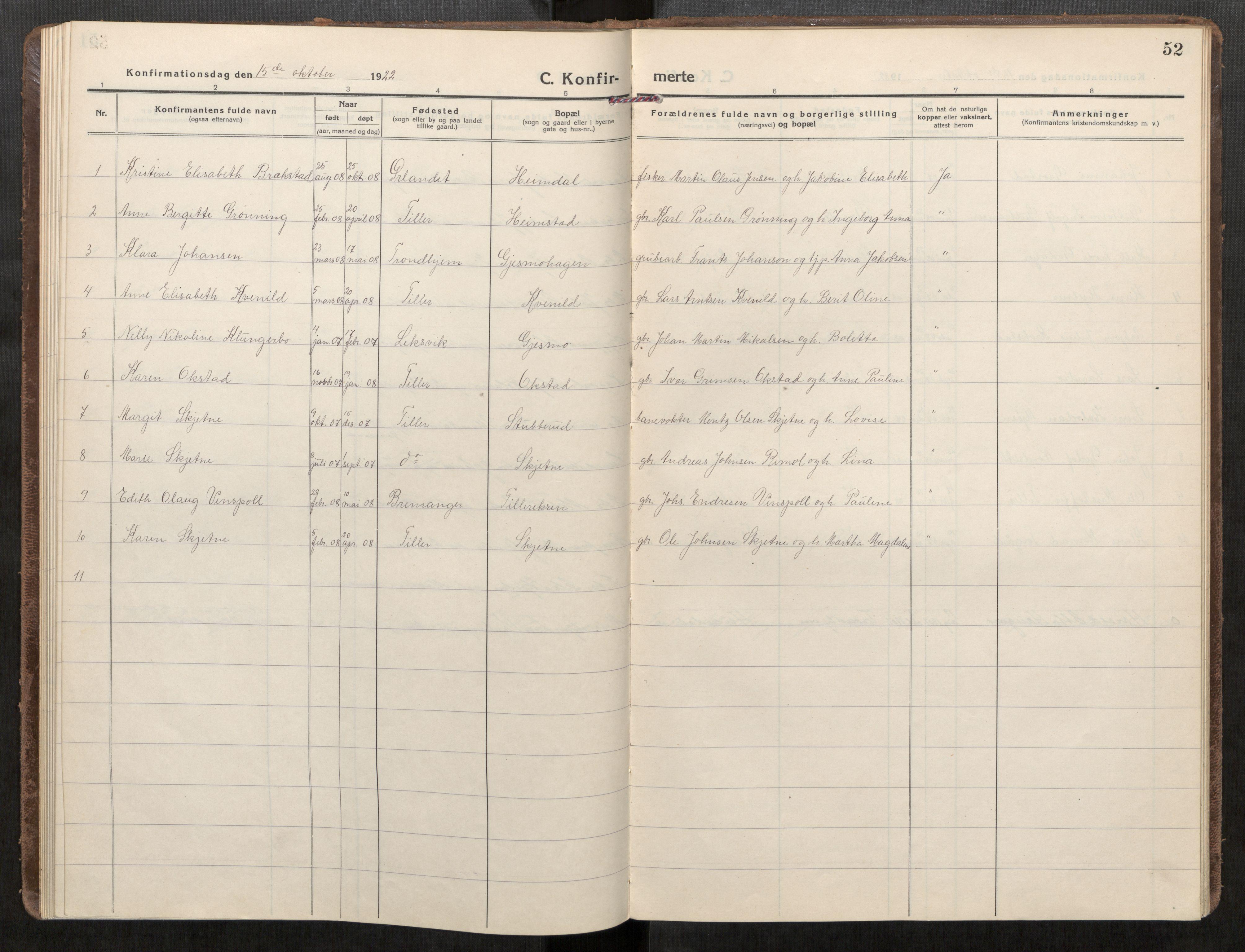 SAT, Klæbu sokneprestkontor, Parish register (official) no. 3, 1917-1924, p. 52