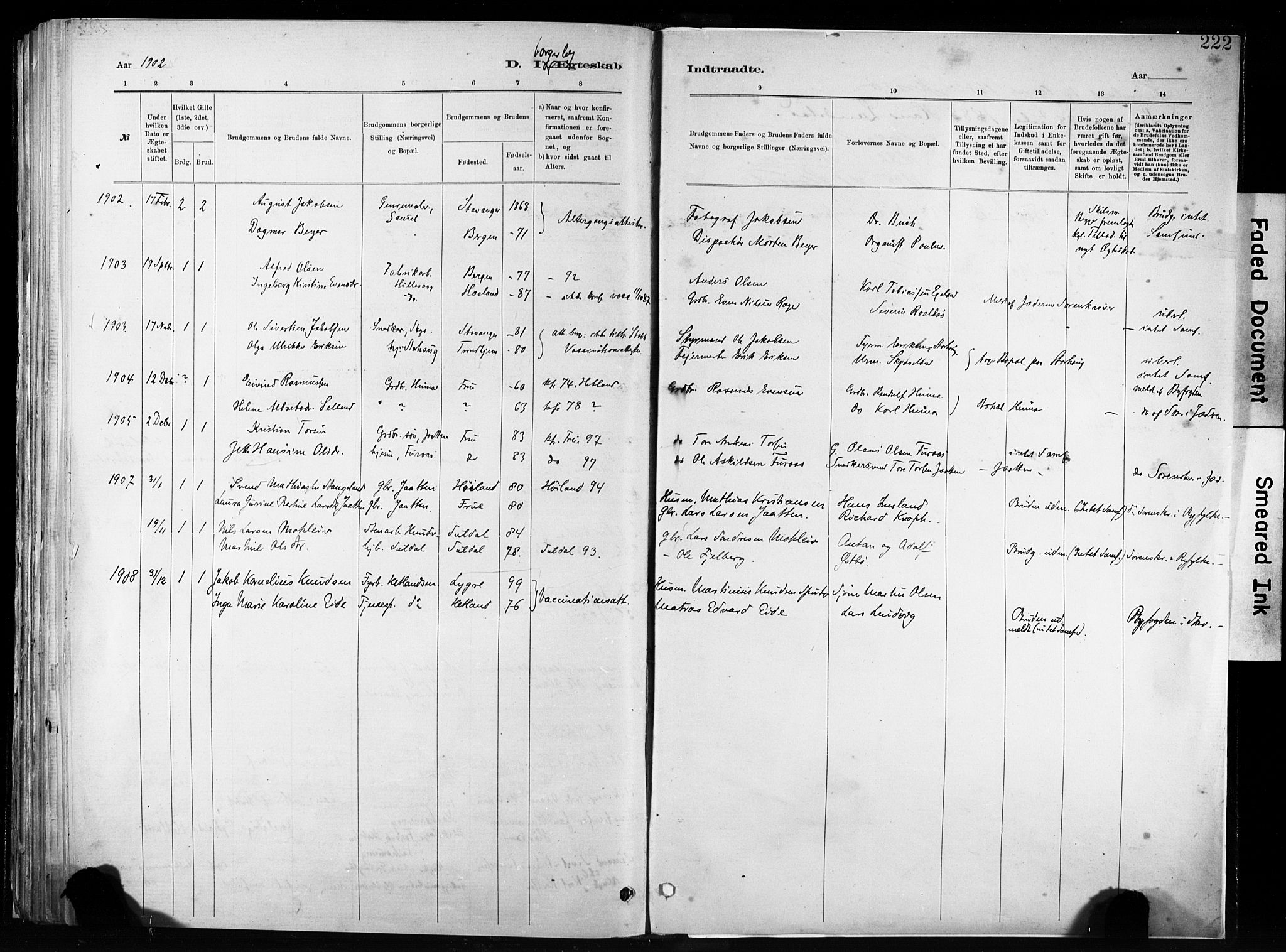SAST, Hetland sokneprestkontor, 30/30BA/L0011: Parish register (official) no. A 11, 1884-1911, p. 222