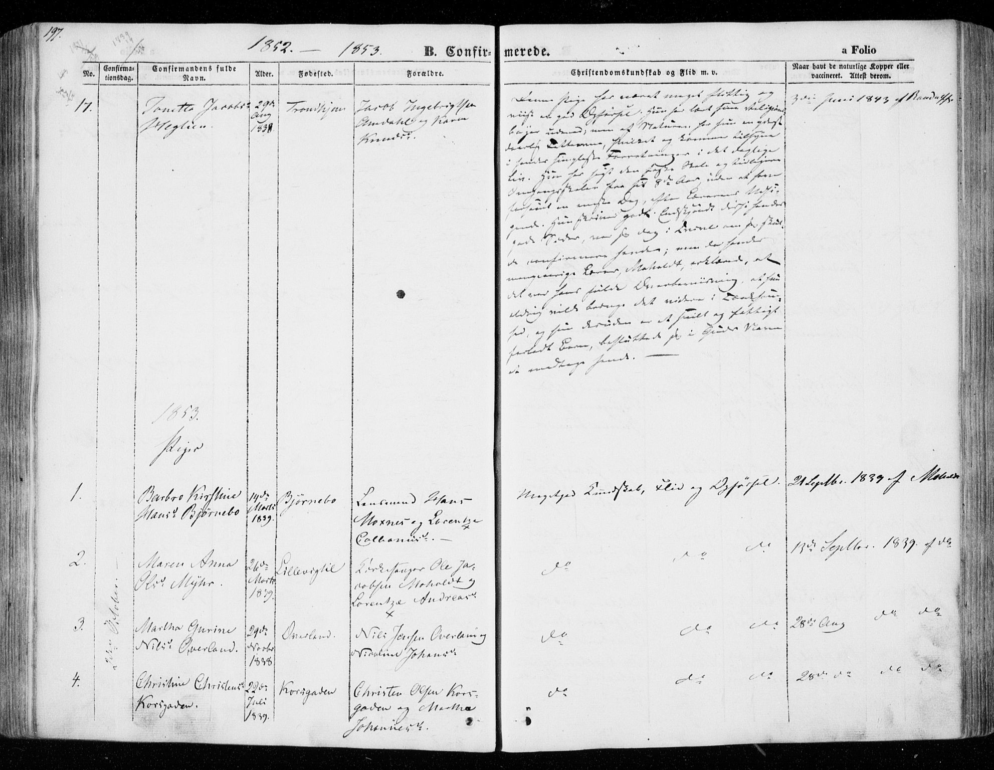 SAT, Ministerialprotokoller, klokkerbøker og fødselsregistre - Nord-Trøndelag, 701/L0007: Parish register (official) no. 701A07 /1, 1842-1854, p. 197