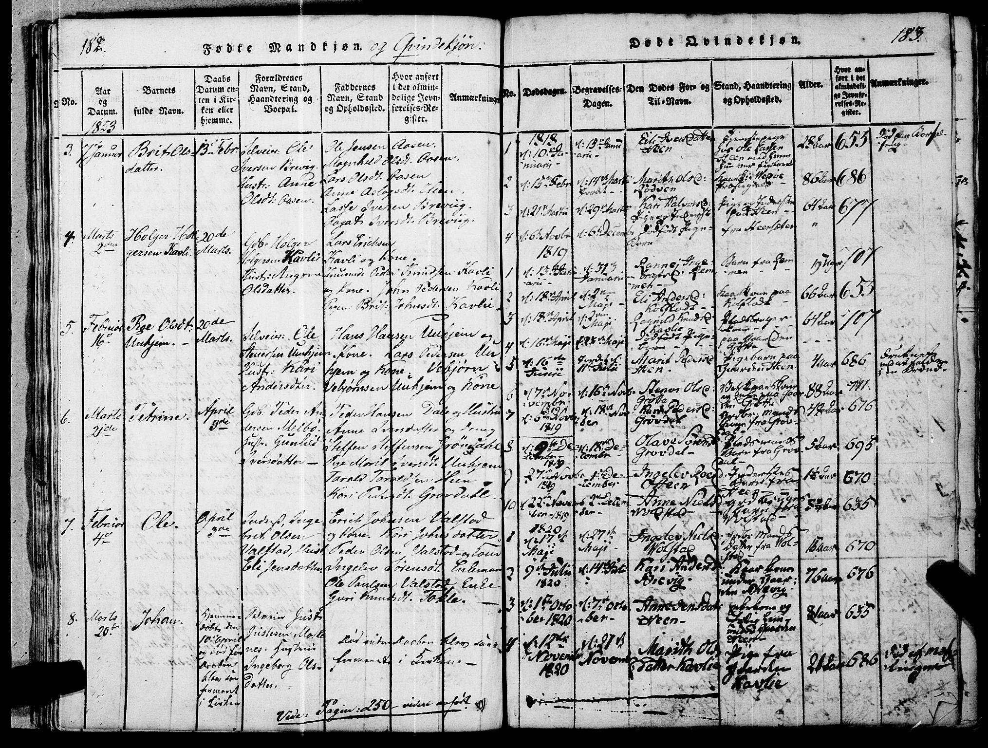 SAT, Ministerialprotokoller, klokkerbøker og fødselsregistre - Møre og Romsdal, 545/L0585: Parish register (official) no. 545A01, 1818-1853, p. 182-183