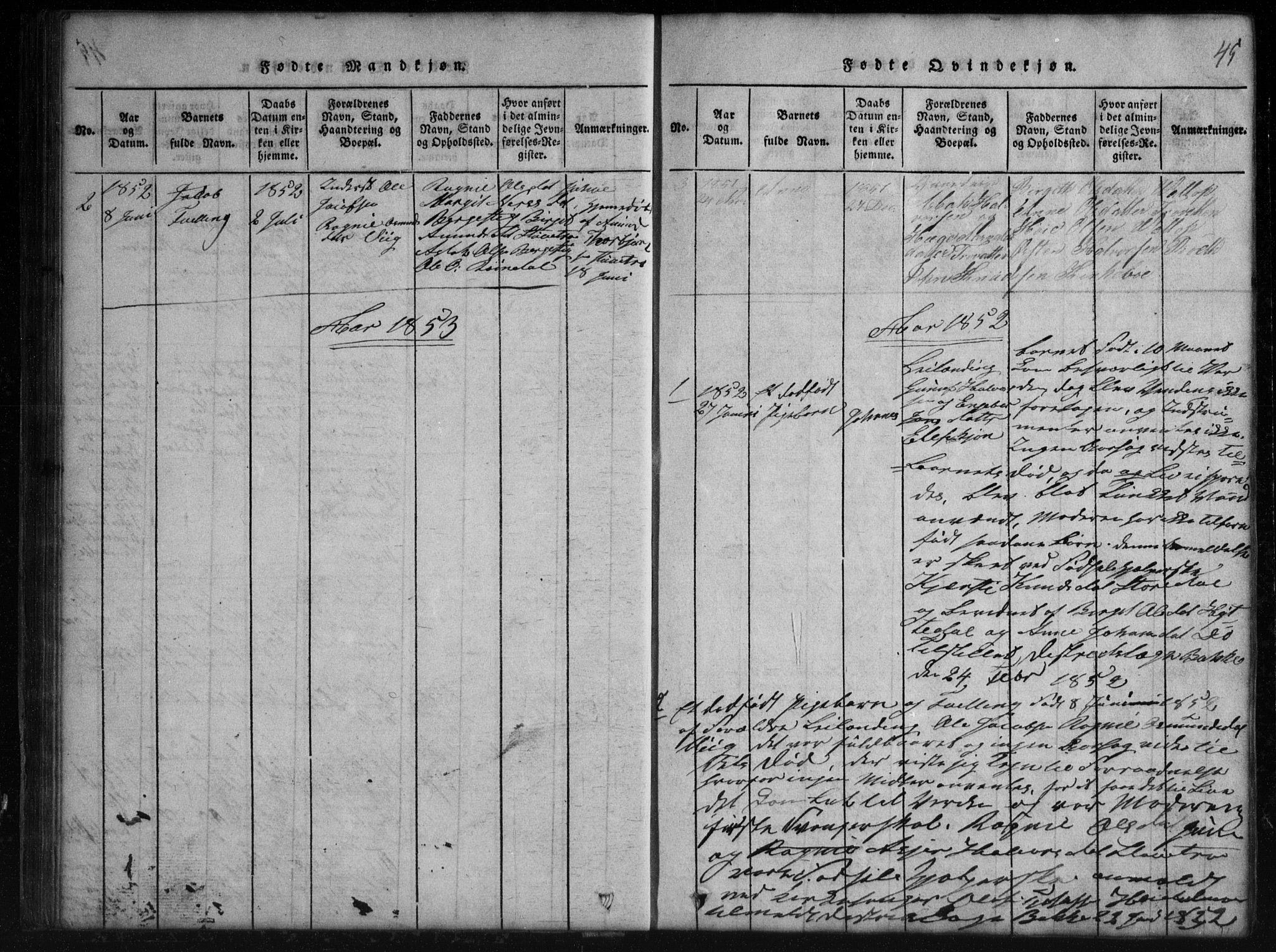 SAKO, Rauland kirkebøker, G/Gb/L0001: Parish register (copy) no. II 1, 1815-1886, p. 45