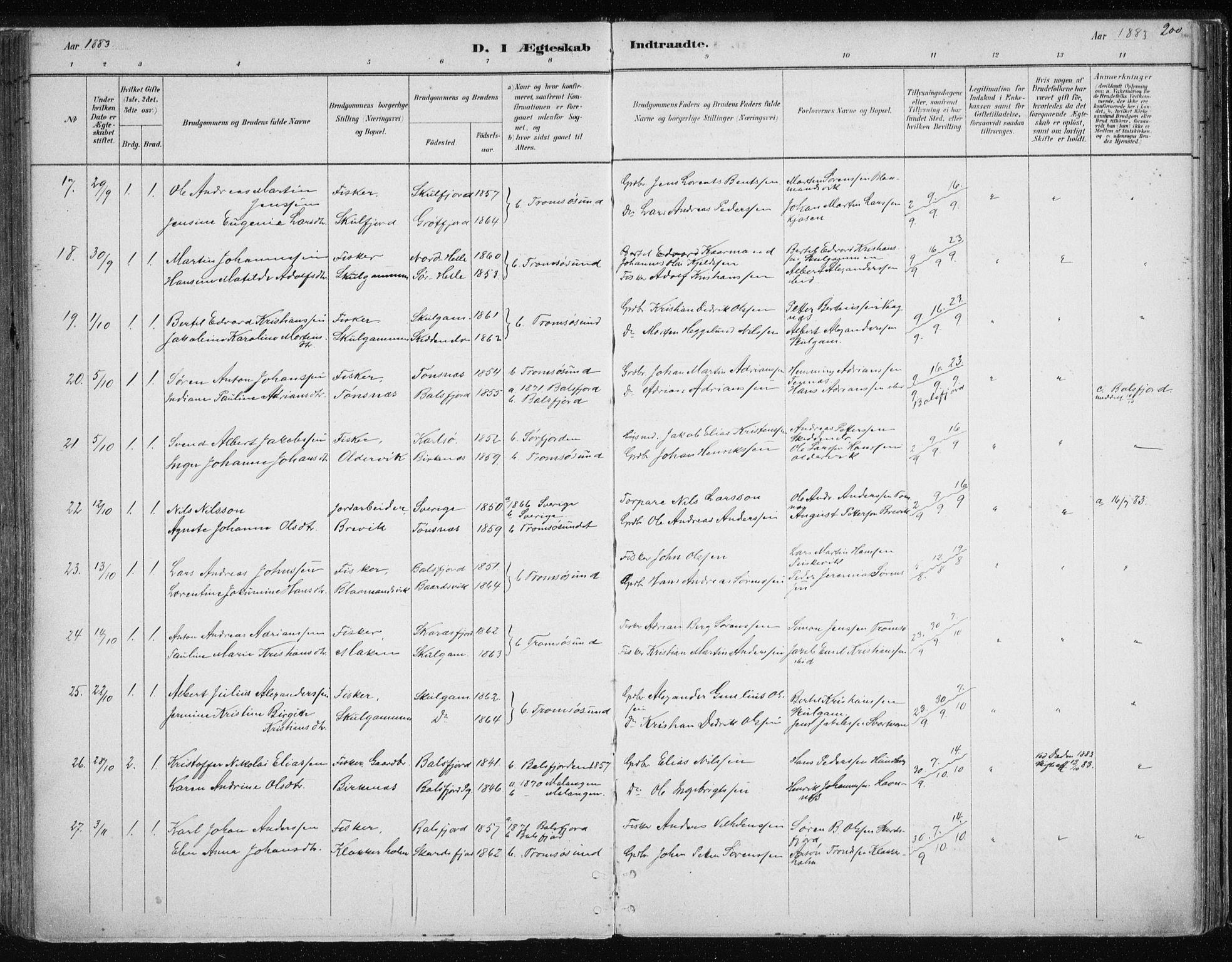 SATØ, Tromsøysund sokneprestkontor, G/Ga/L0004kirke: Parish register (official) no. 4, 1880-1888, p. 200