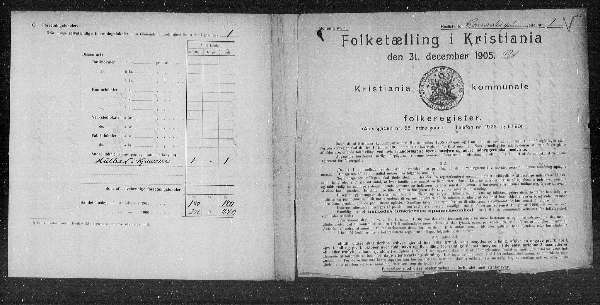 OBA, Municipal Census 1905 for Kristiania, 1905, p. 6910