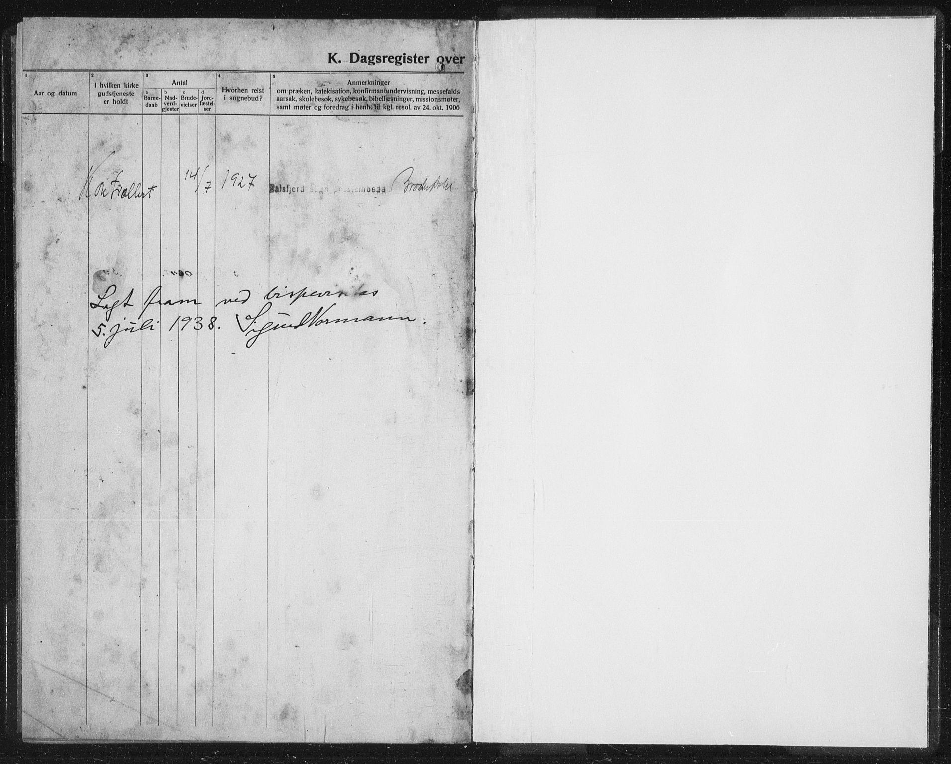 SATØ, Balsfjord sokneprestembete, Parish register (copy) no. 10, 1921-1936