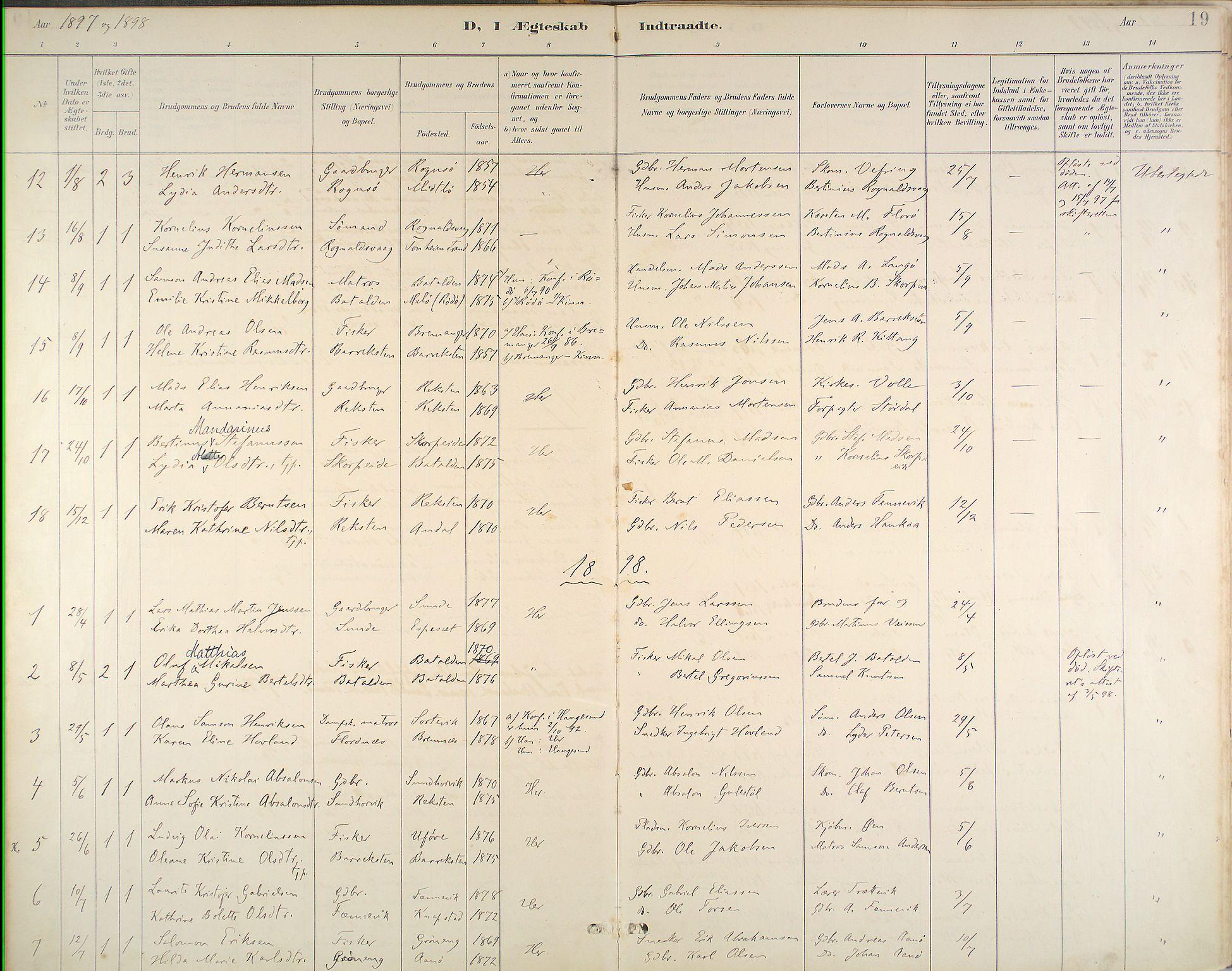 Kinn Sokneprestembete, Parish register (official) no. B 3, 1886-1936, p. 19