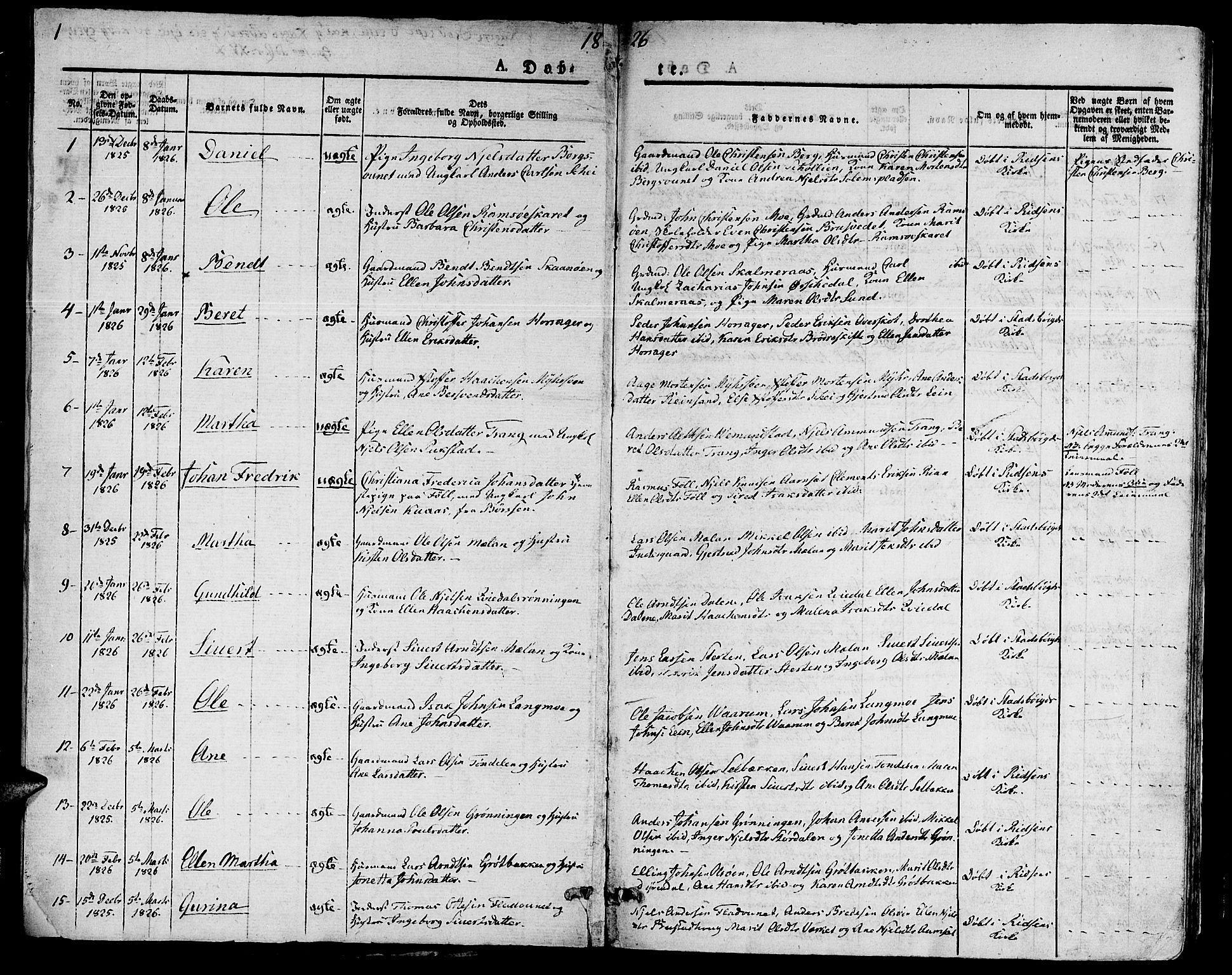 SAT, Ministerialprotokoller, klokkerbøker og fødselsregistre - Sør-Trøndelag, 646/L0609: Parish register (official) no. 646A07, 1826-1838, p. 1