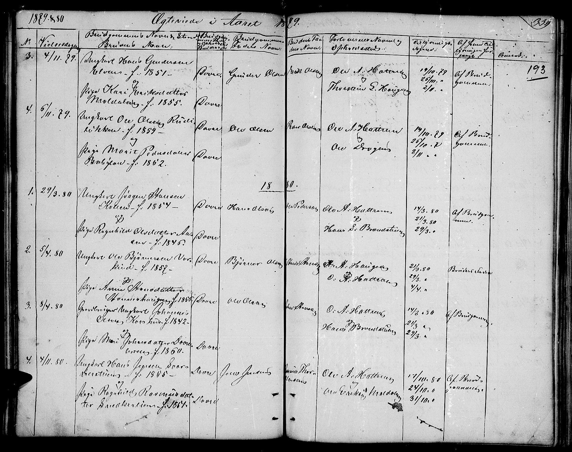 SAH, Dovre prestekontor, Parish register (copy) no. 1, 1862-1880, p. 339
