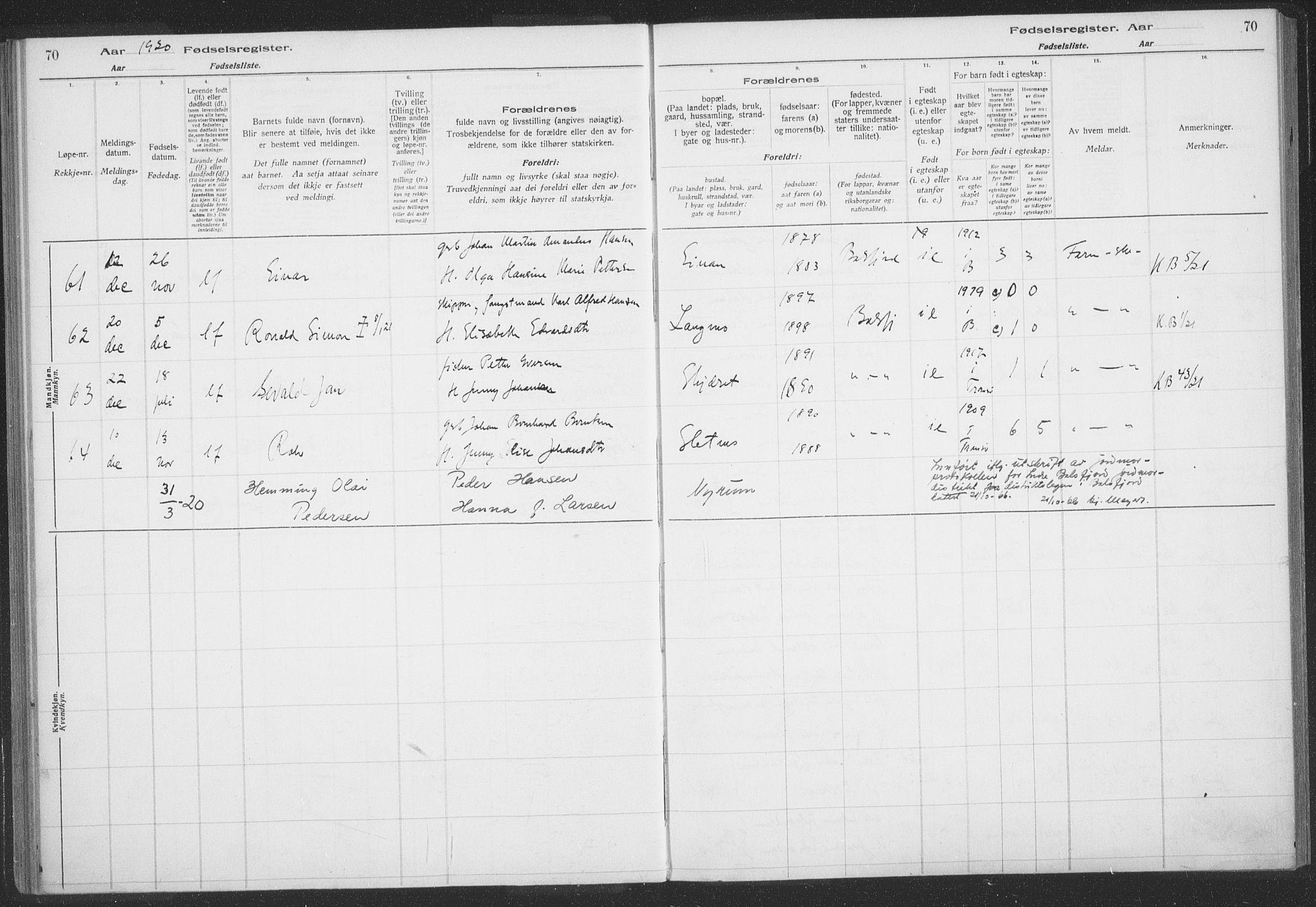SATØ, Balsfjord sokneprestembete, Birth register no. 59, 1916-1930, p. 70