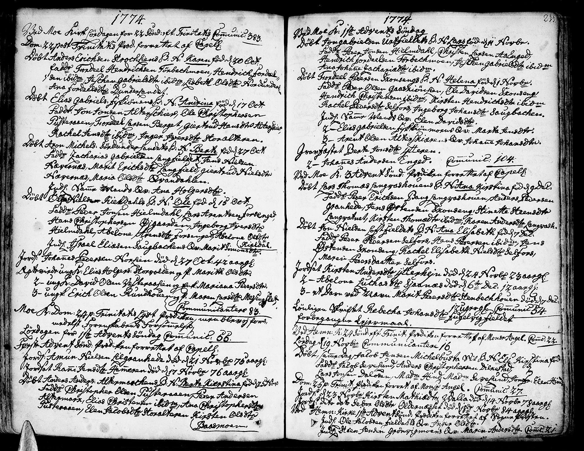 SAT, Ministerialprotokoller, klokkerbøker og fødselsregistre - Nordland, 825/L0348: Parish register (official) no. 825A04, 1752-1788, p. 233
