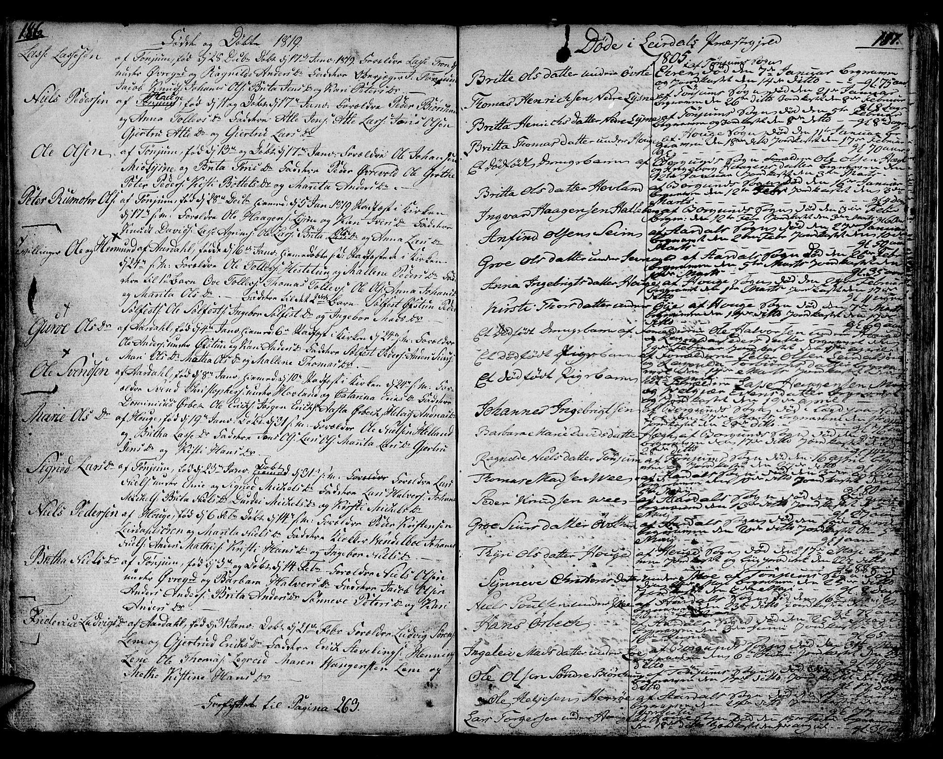 SAB, Lærdal sokneprestembete, Parish register (official) no. A 4, 1805-1821, p. 186-187