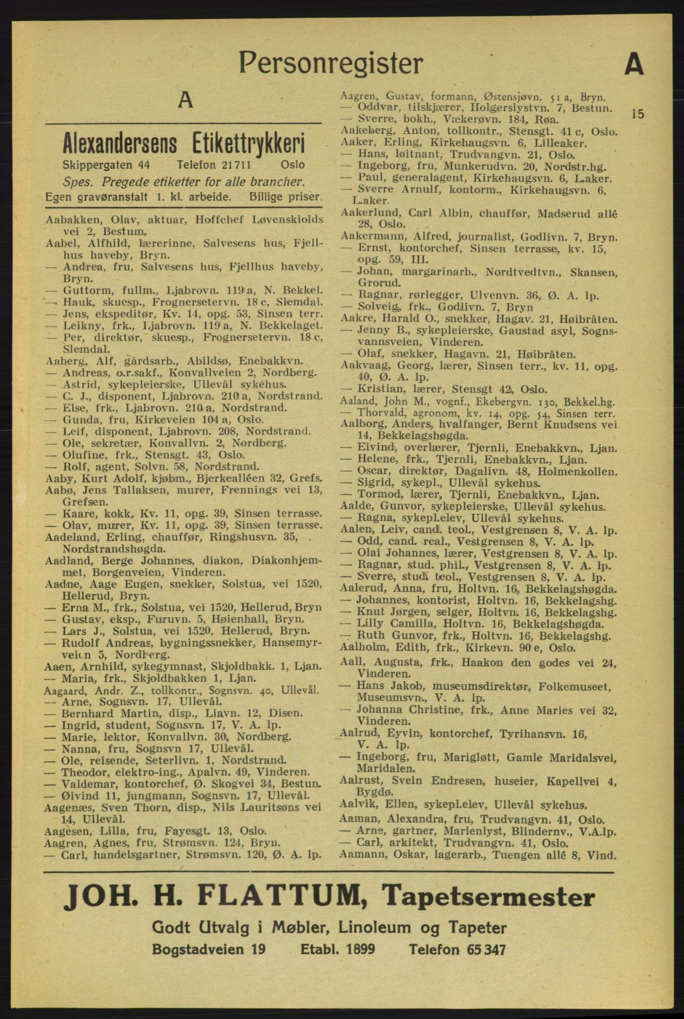 RA, Aker adressebok/adressekalender (publikasjon)*, 1937-1938, p. 15