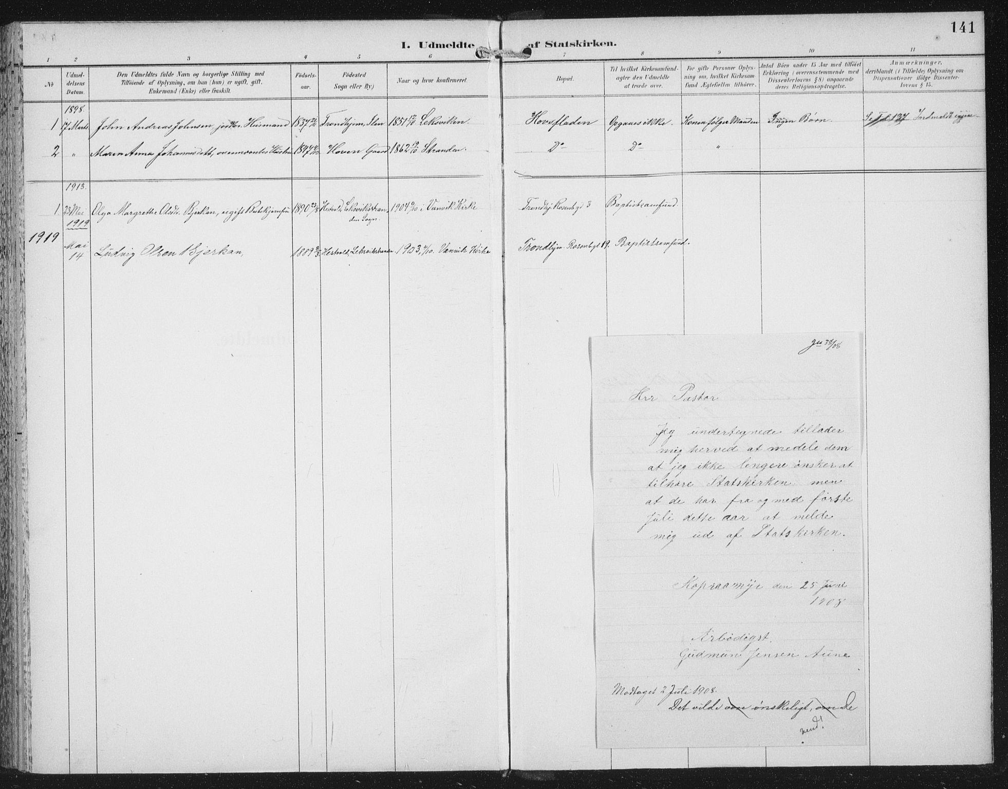 SAT, Ministerialprotokoller, klokkerbøker og fødselsregistre - Nord-Trøndelag, 702/L0024: Parish register (official) no. 702A02, 1898-1914, p. 141