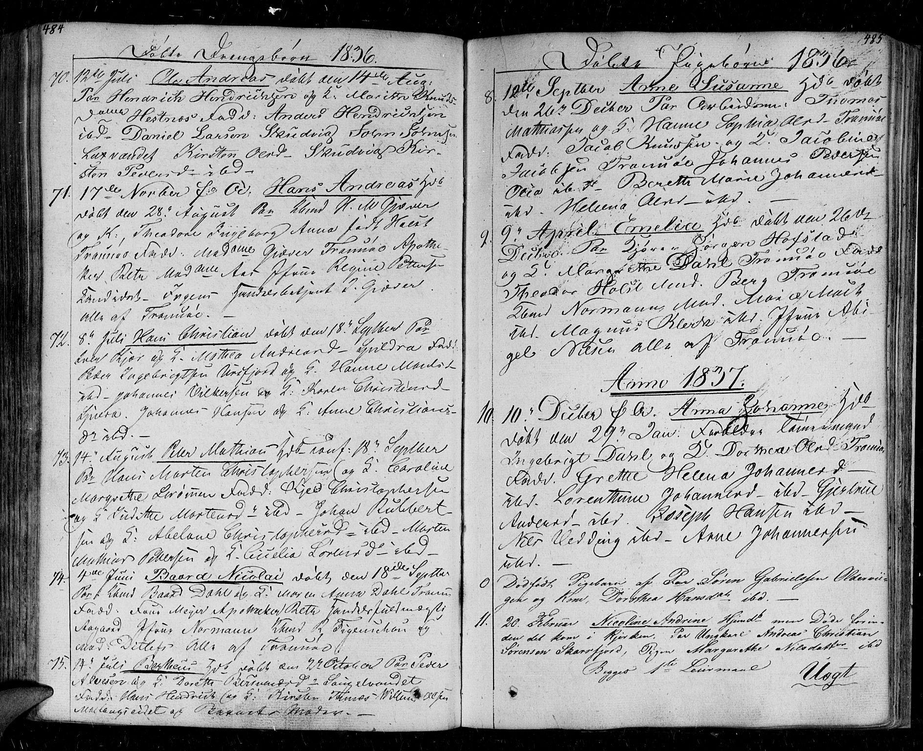 SATØ, Tromsø sokneprestkontor/stiftsprosti/domprosti, G/Ga/L0008kirke: Parish register (official) no. 8, 1829-1837, p. 484-485