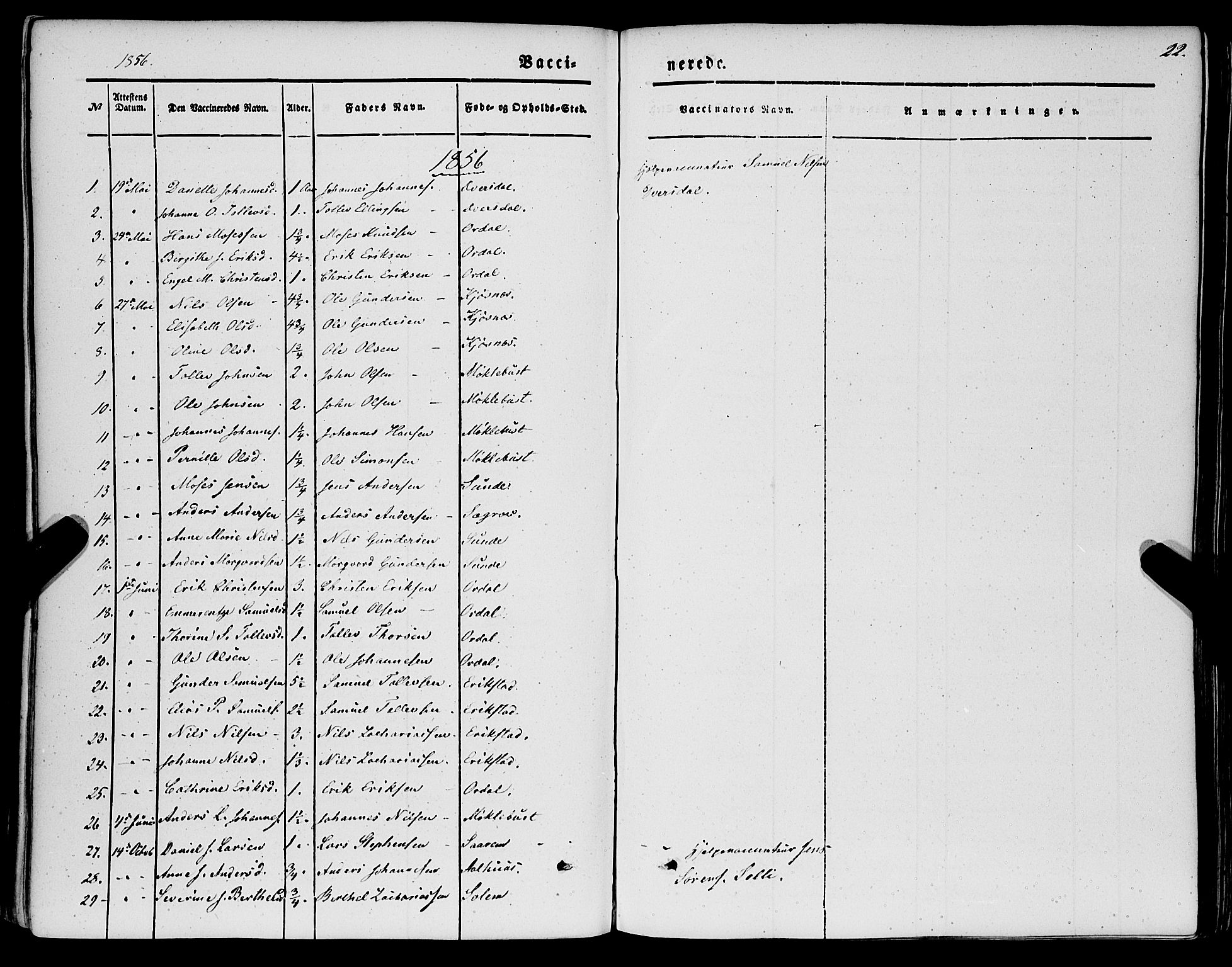 SAB, Jølster sokneprestembete, H/Haa/Haaa/L0010: Parish register (official) no. A 10, 1847-1865, p. 22