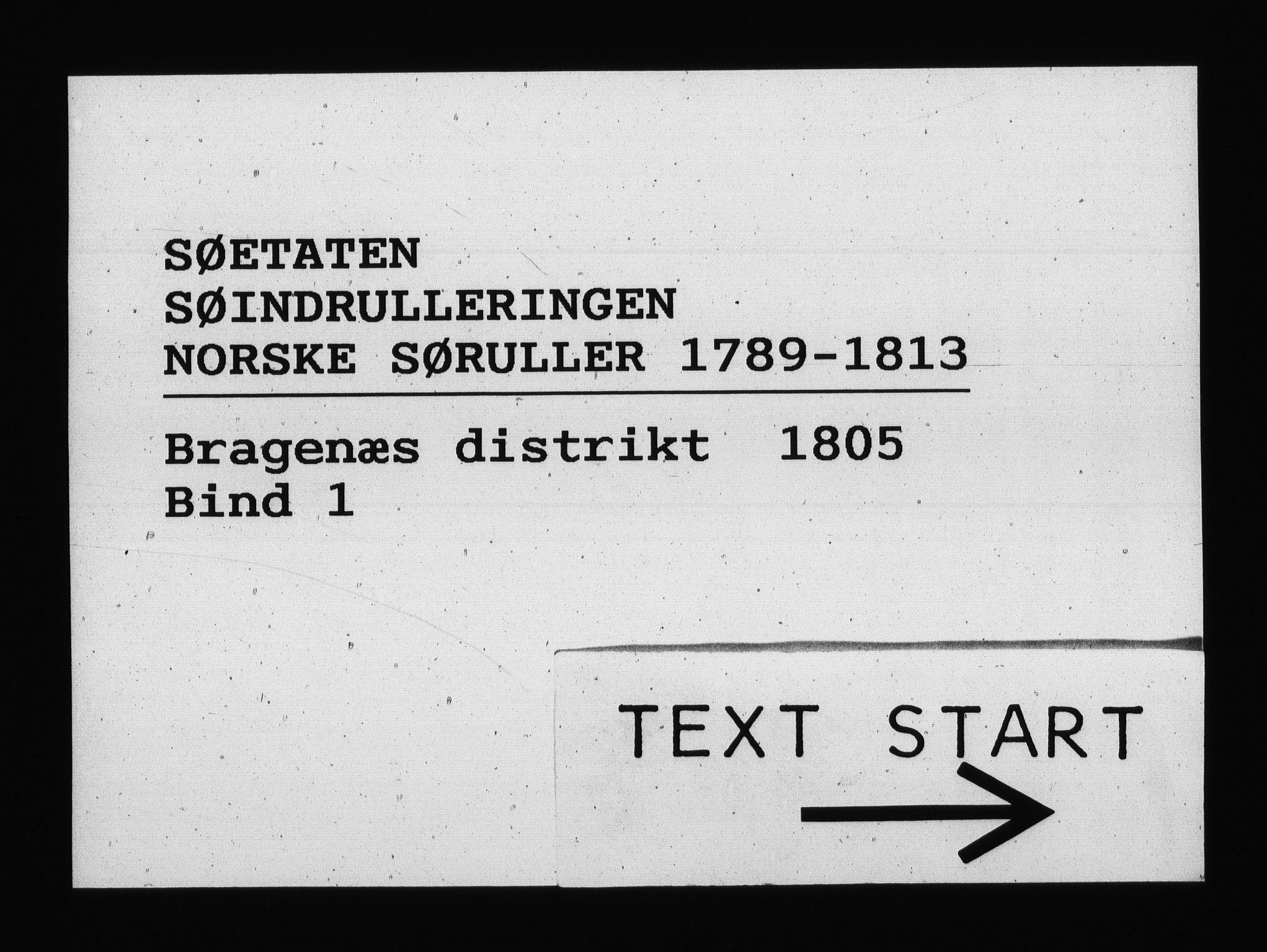 RA, Sjøetaten, F/L0147: Bragernes distrikt, bind 1, 1805
