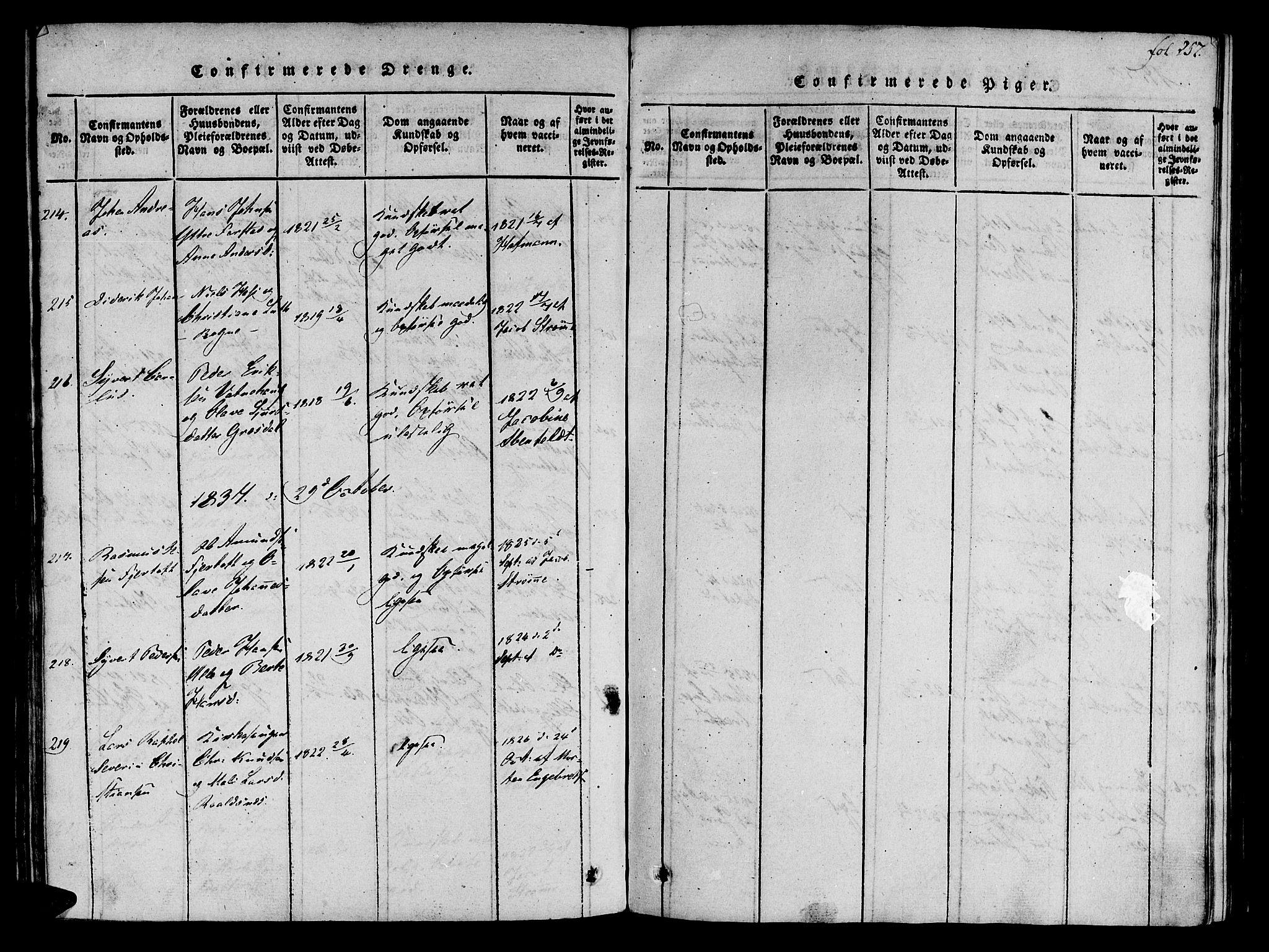 SAT, Ministerialprotokoller, klokkerbøker og fødselsregistre - Møre og Romsdal, 536/L0495: Parish register (official) no. 536A04, 1818-1847, p. 257