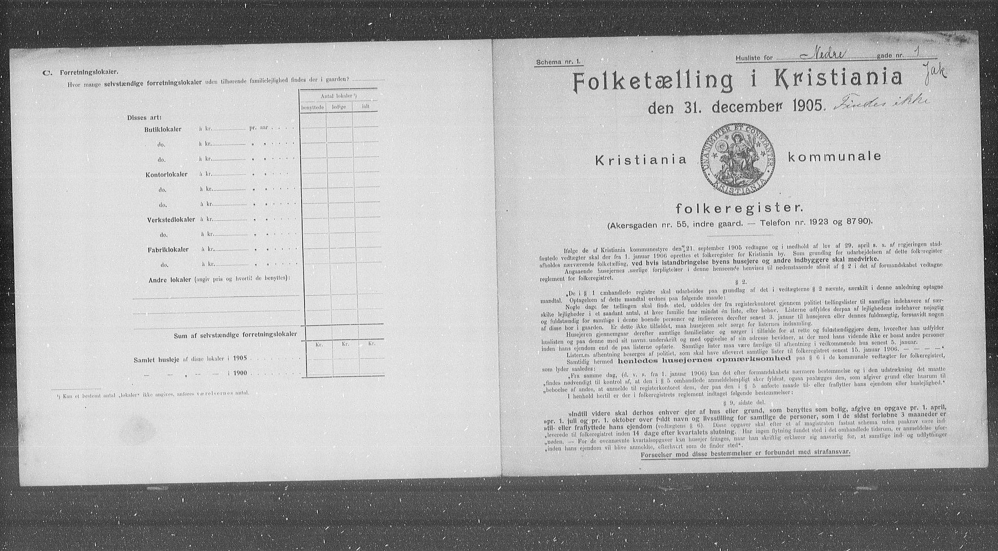 OBA, Municipal Census 1905 for Kristiania, 1905, p. 36321