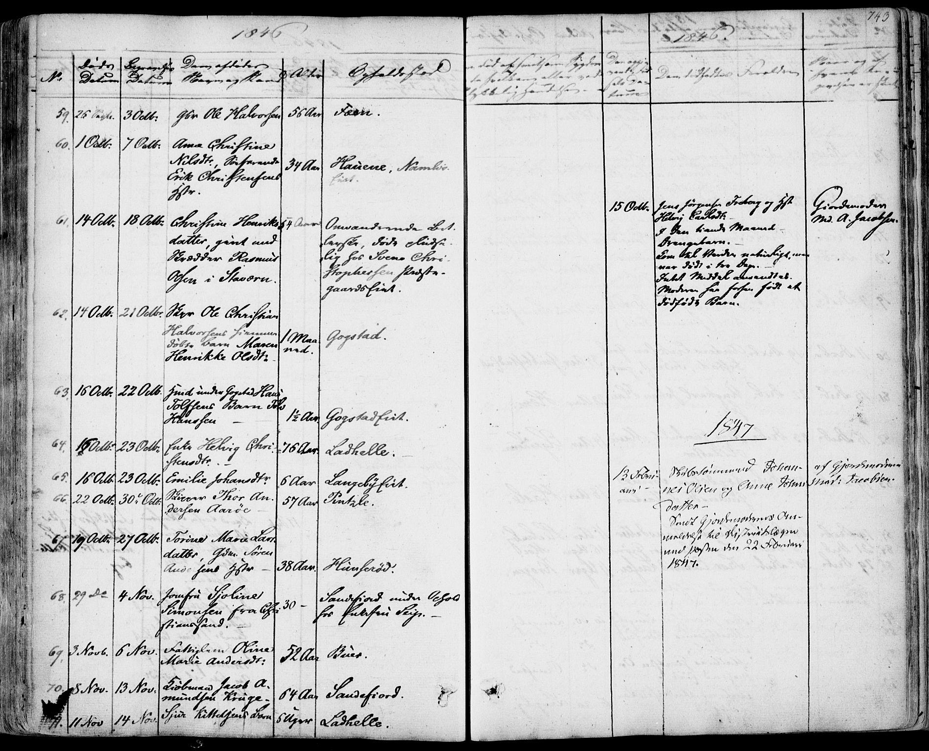 SAKO, Sandar kirkebøker, F/Fa/L0005: Parish register (official) no. 5, 1832-1847, p. 742-743