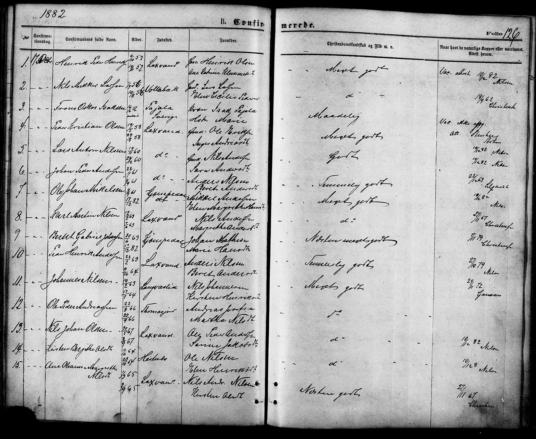 SATØ, Balsfjord sokneprestembete, Parish register (official) no. 4, 1871-1883, p. 126