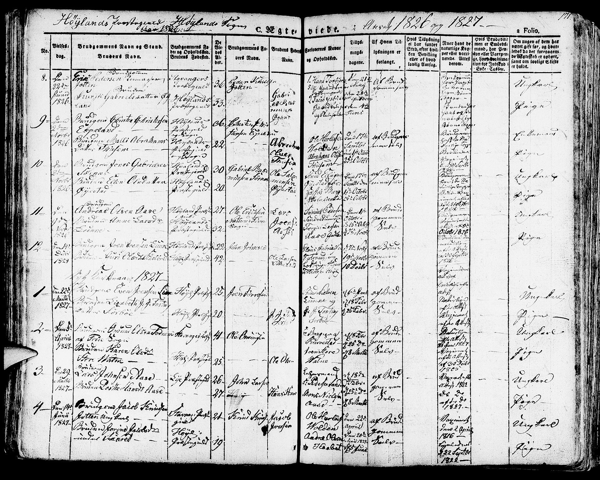 SAST, Høyland sokneprestkontor, 30BA/L0007: Parish register (official) no. A 7 /1, 1825-1841, p. 171