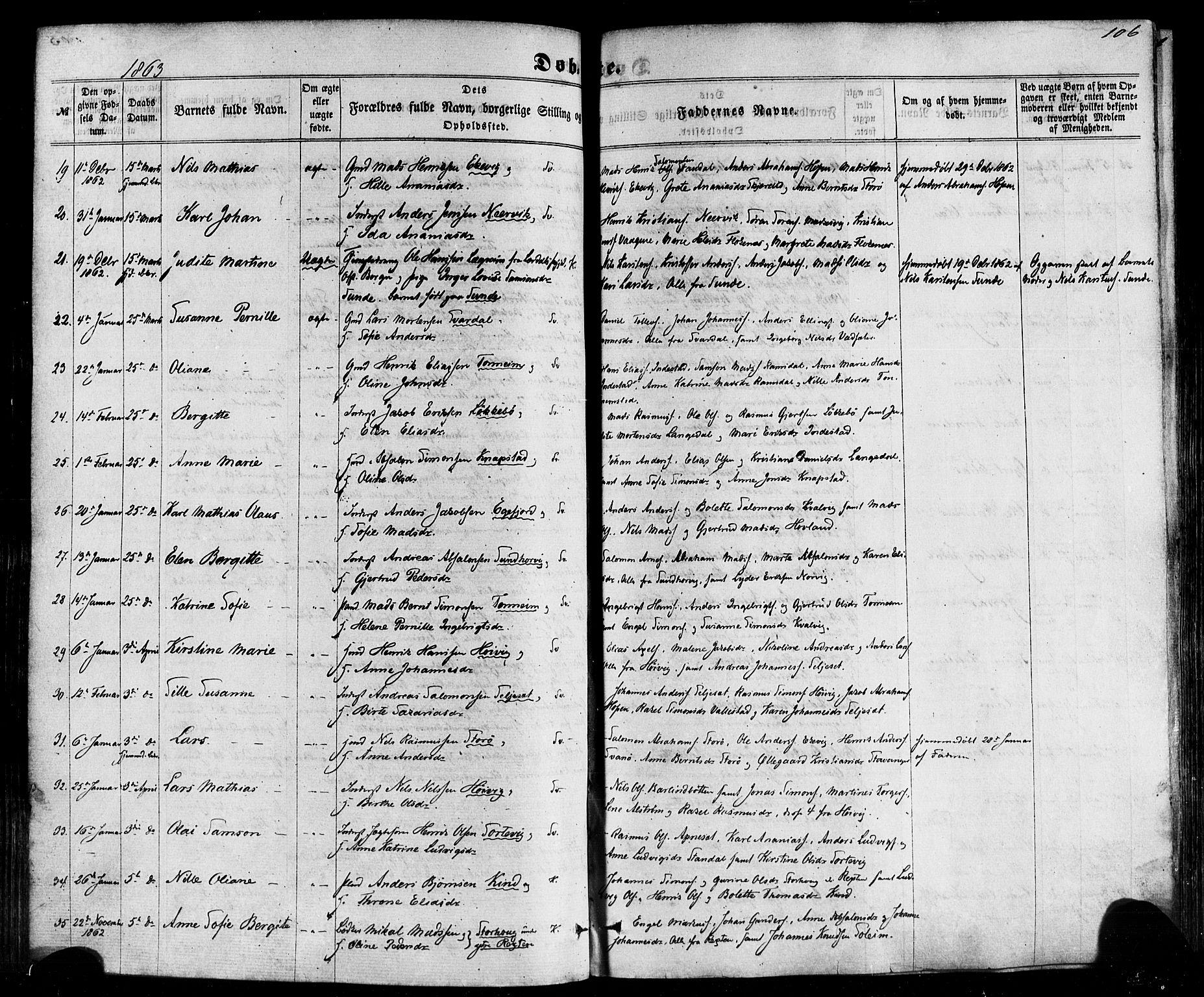 SAB, Kinn sokneprestembete, H/Haa/Haaa/L0006: Parish register (official) no. A 6, 1857-1885, p. 106