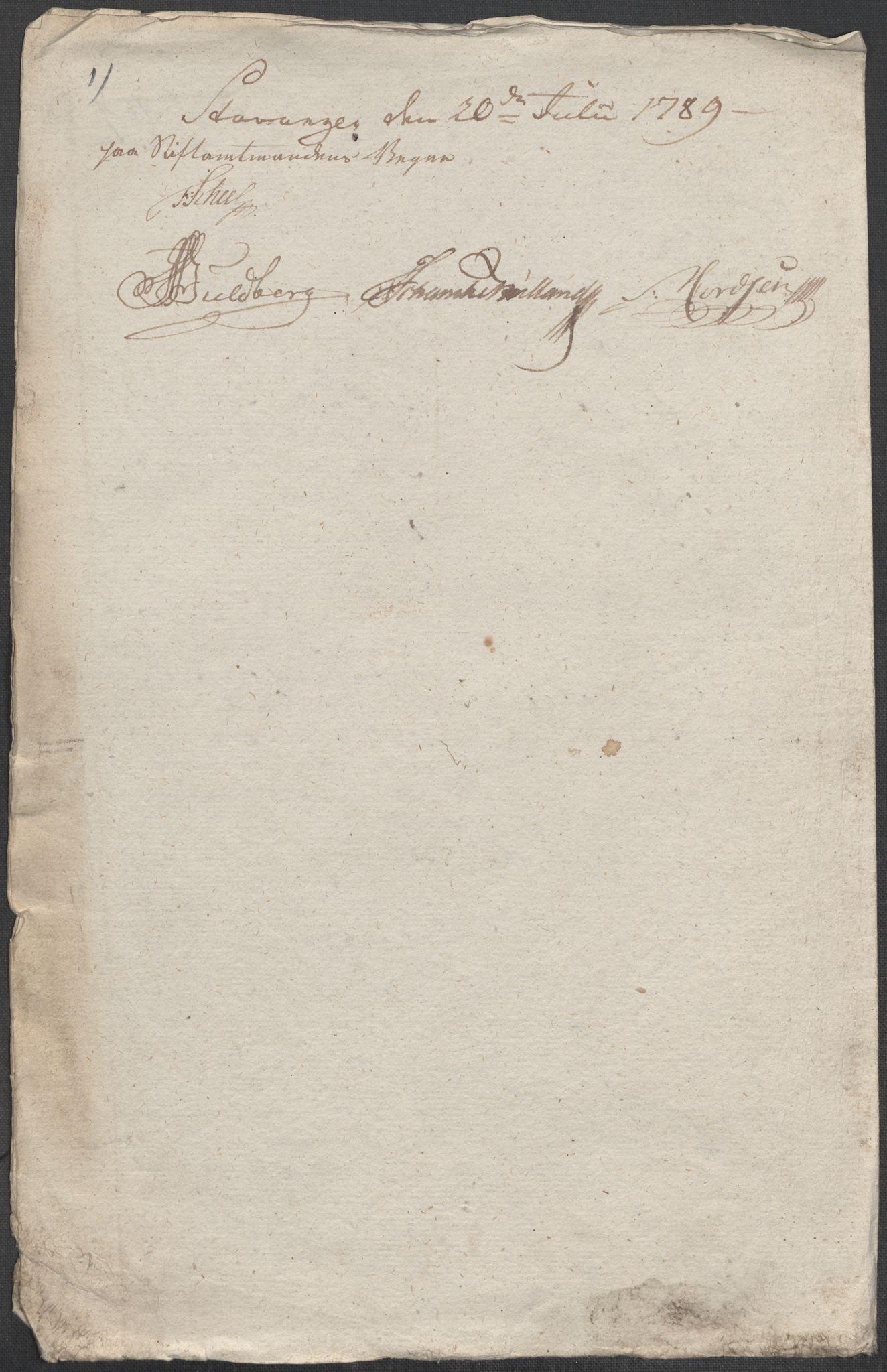RA, Rentekammeret inntil 1814, Reviderte regnskaper, Mindre regnskaper, Rf/Rfe/L0045: Stavanger, Stjørdal og Verdal fogderi, 1789, p. 24