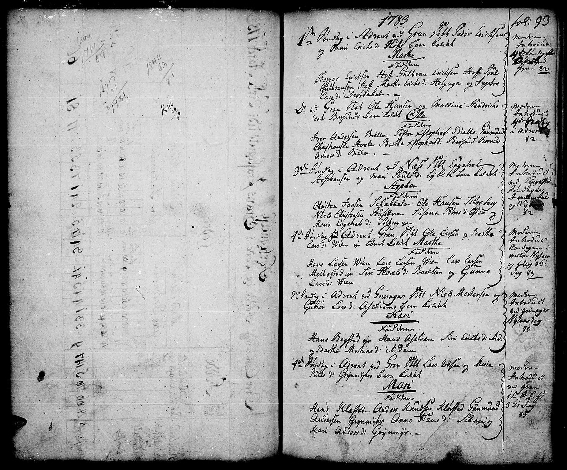 SAH, Gran prestekontor, Parish register (official) no. 5, 1776-1788, p. 93