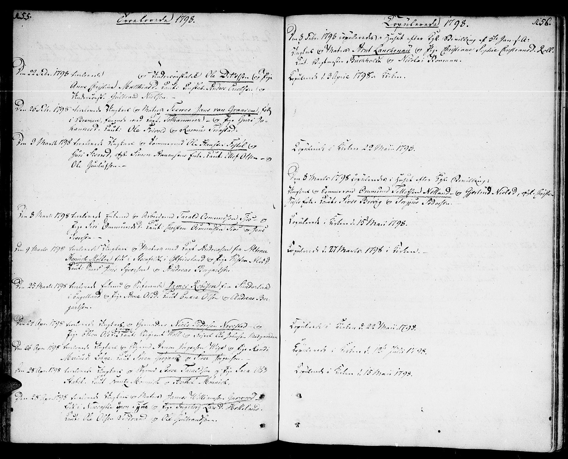 SAK, Kristiansand domprosti, F/Fa/L0005: Parish register (official) no. A 5, 1776-1818, p. 155-156