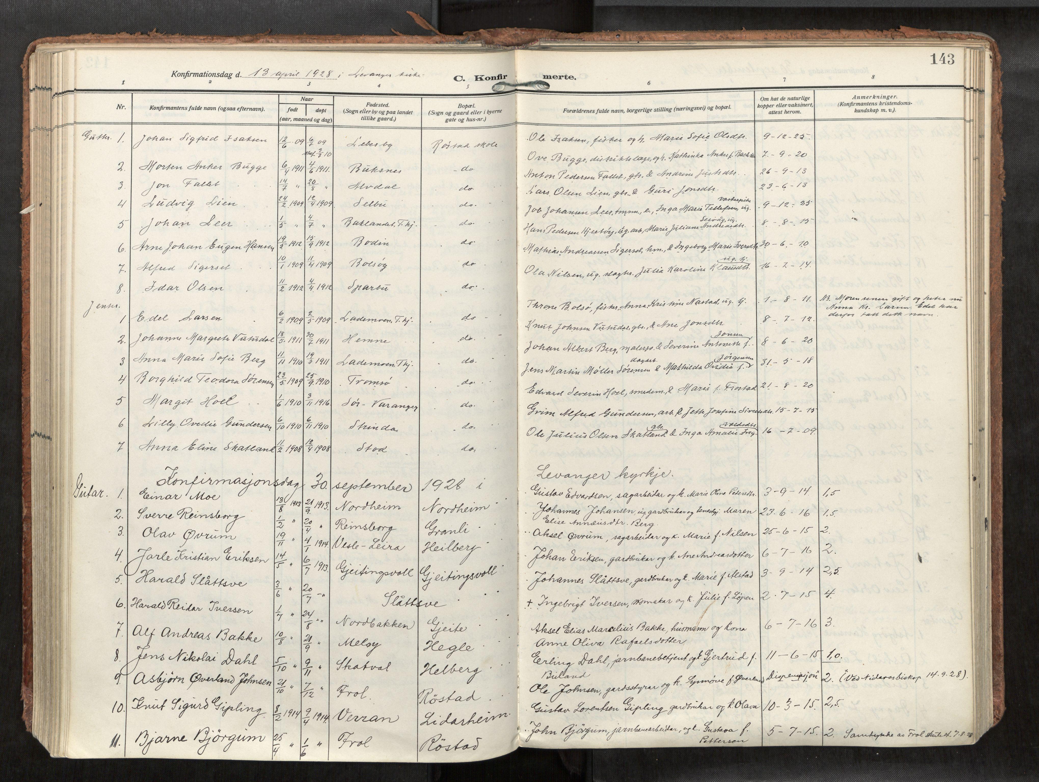 SAT, Levanger sokneprestkontor*, Parish register (official) no. 1, 1912-1935, p. 143