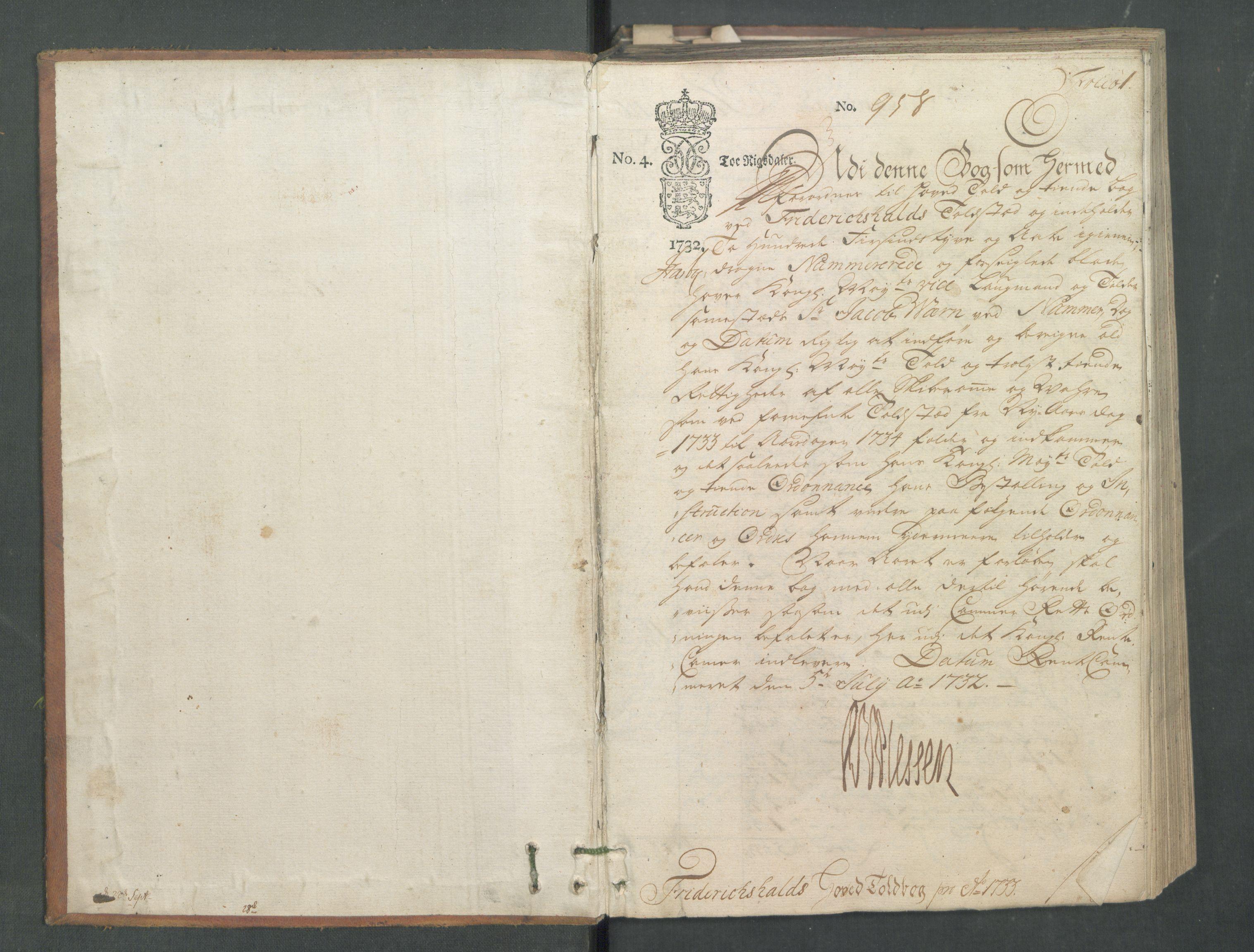 RA, Generaltollkammeret, tollregnskaper, R01/L0008: Tollregnskaper Fredrikshald, 1733, p. 1a