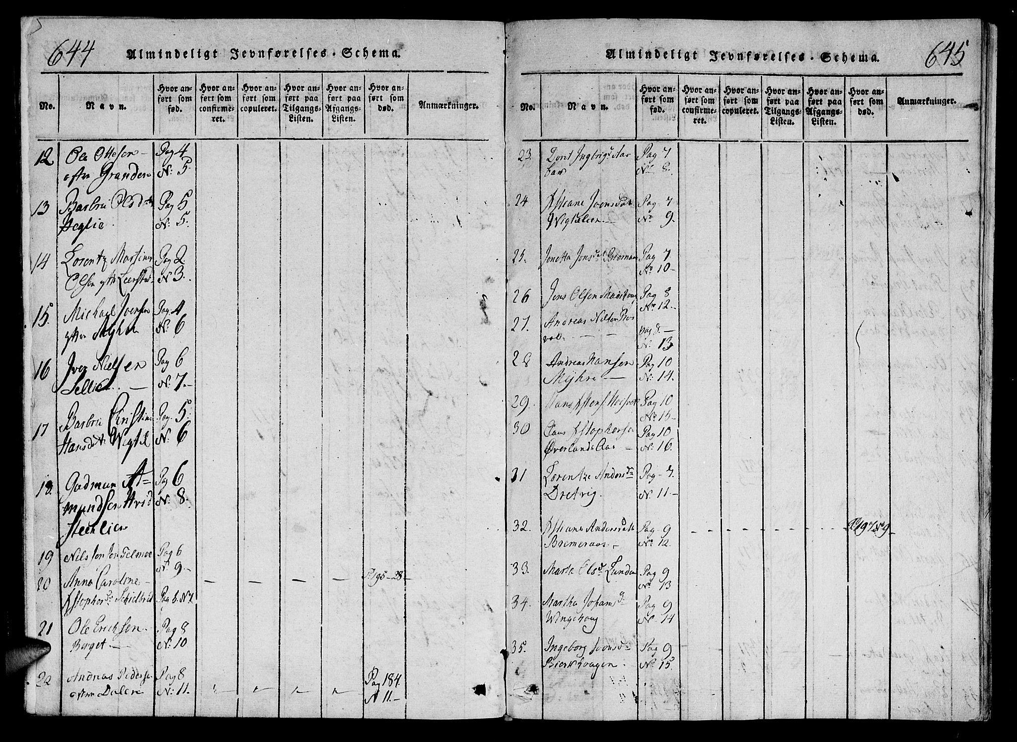 SAT, Ministerialprotokoller, klokkerbøker og fødselsregistre - Nord-Trøndelag, 701/L0005: Parish register (official) no. 701A05 /1, 1816-1825, p. 644-645