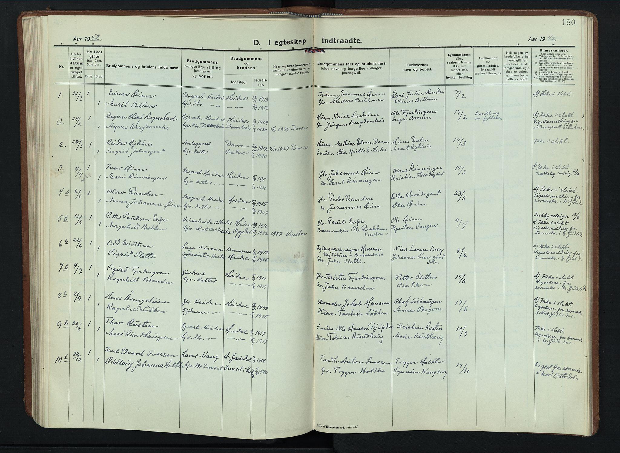 SAH, Sel prestekontor, Parish register (copy) no. 6, 1923-1953, p. 180
