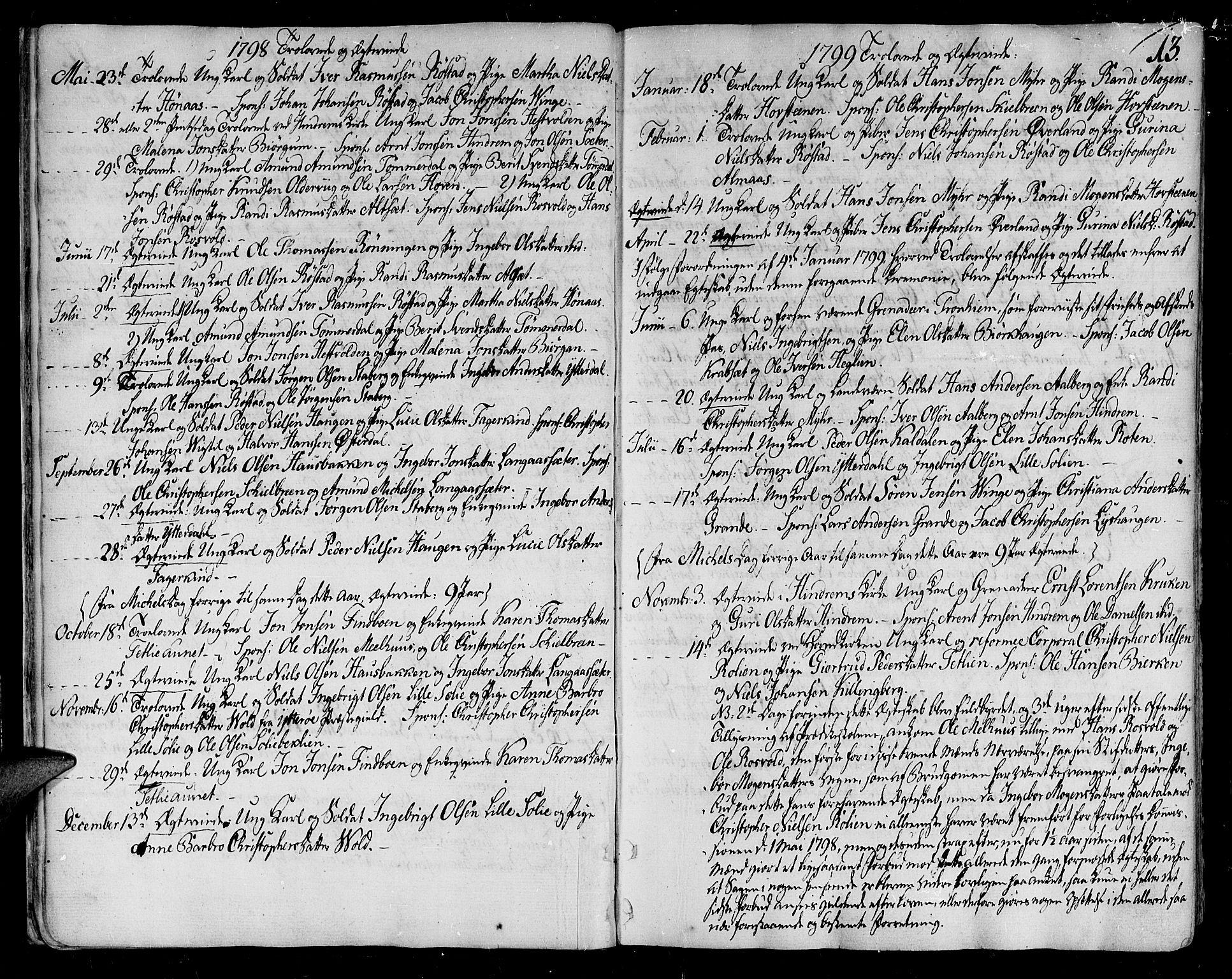 SAT, Ministerialprotokoller, klokkerbøker og fødselsregistre - Nord-Trøndelag, 701/L0004: Parish register (official) no. 701A04, 1783-1816, p. 13